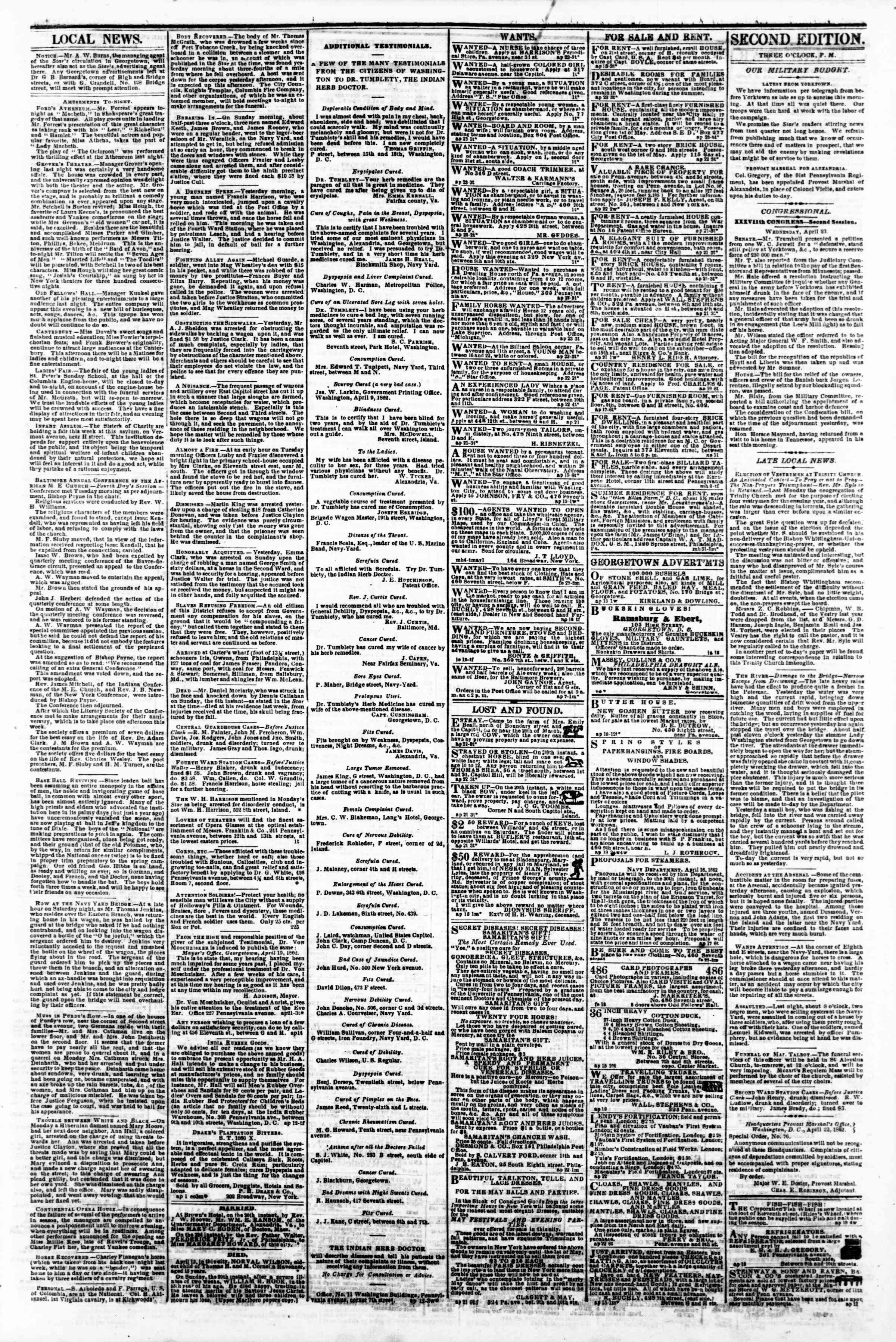 Newspaper of Evening Star dated 23 Nisan 1862 Page 3
