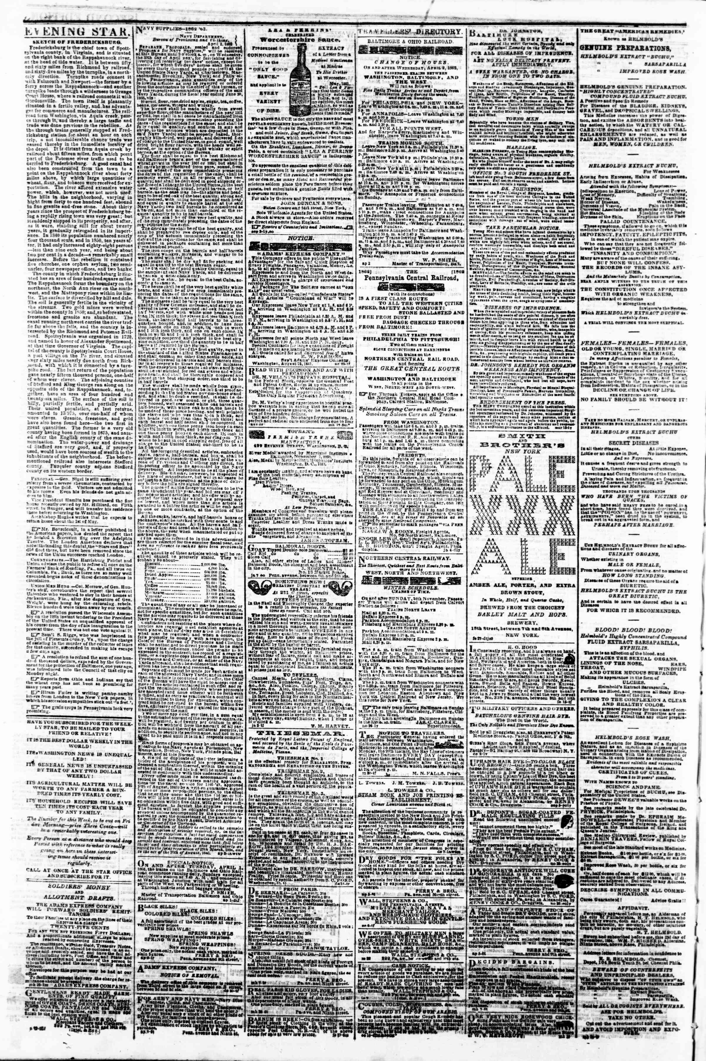 Newspaper of Evening Star dated April 23, 1862 Page 4