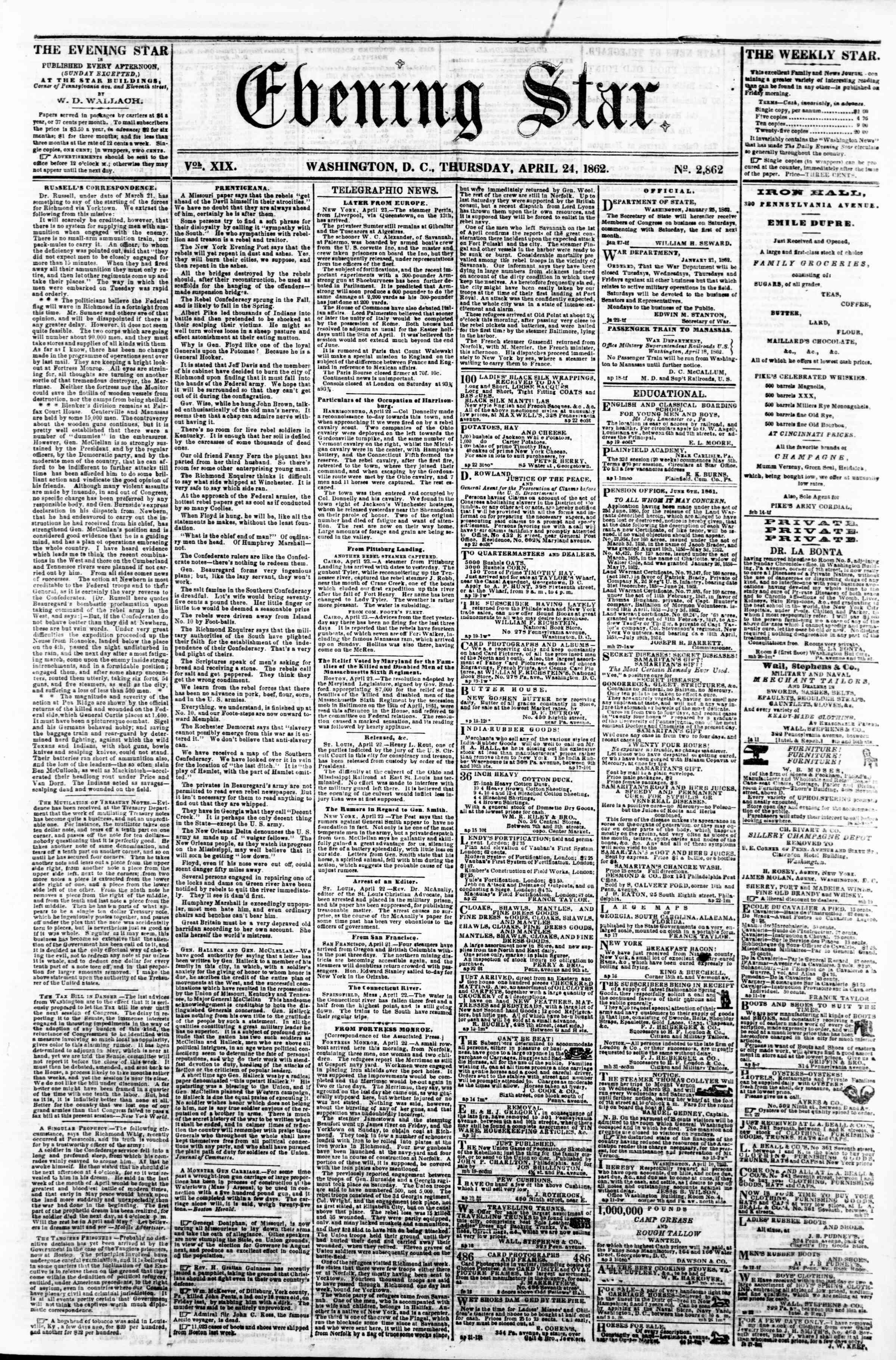 24 Nisan 1862 tarihli Evening Star Gazetesi Sayfa 1