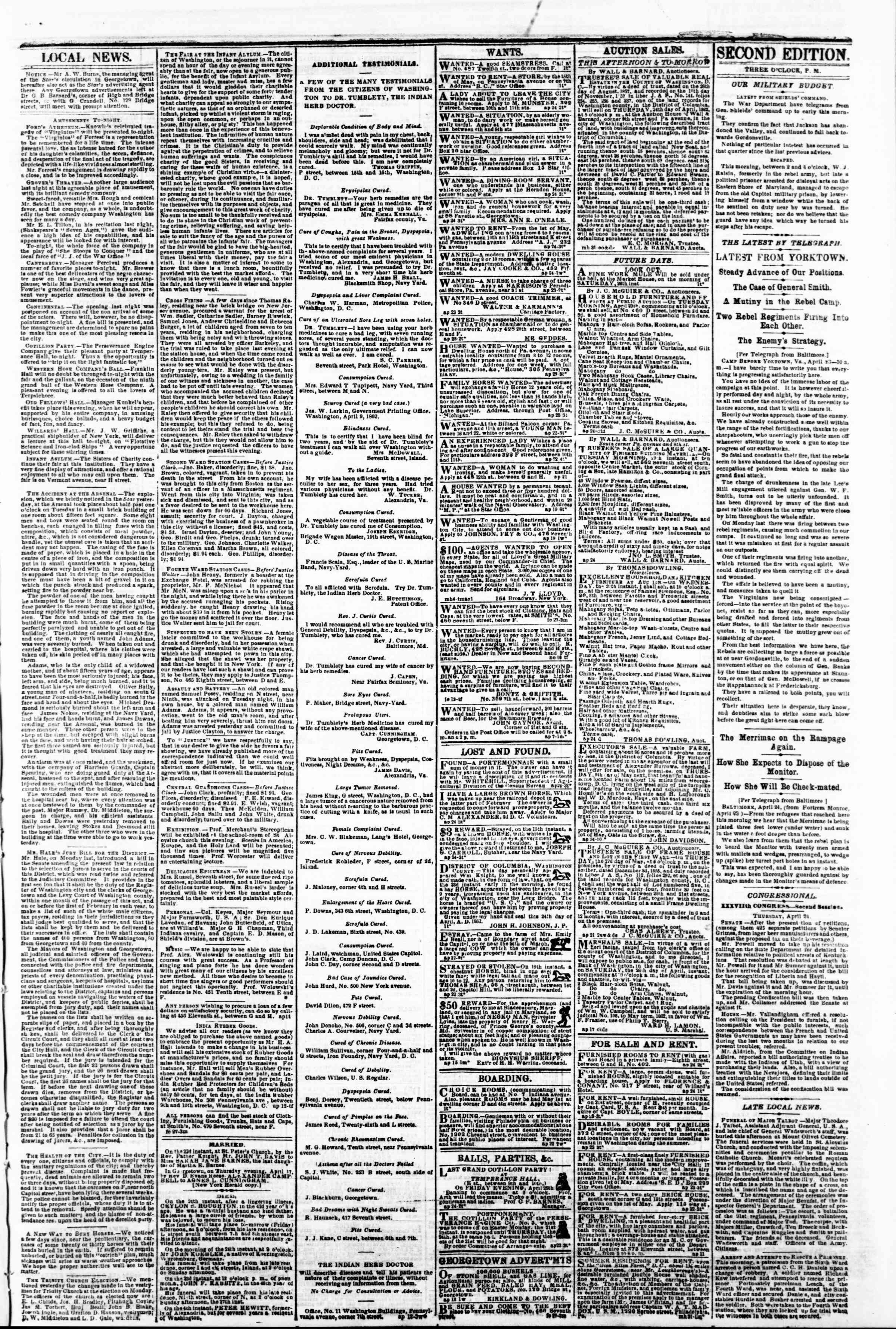 Newspaper of Evening Star dated April 24, 1862 Page 3