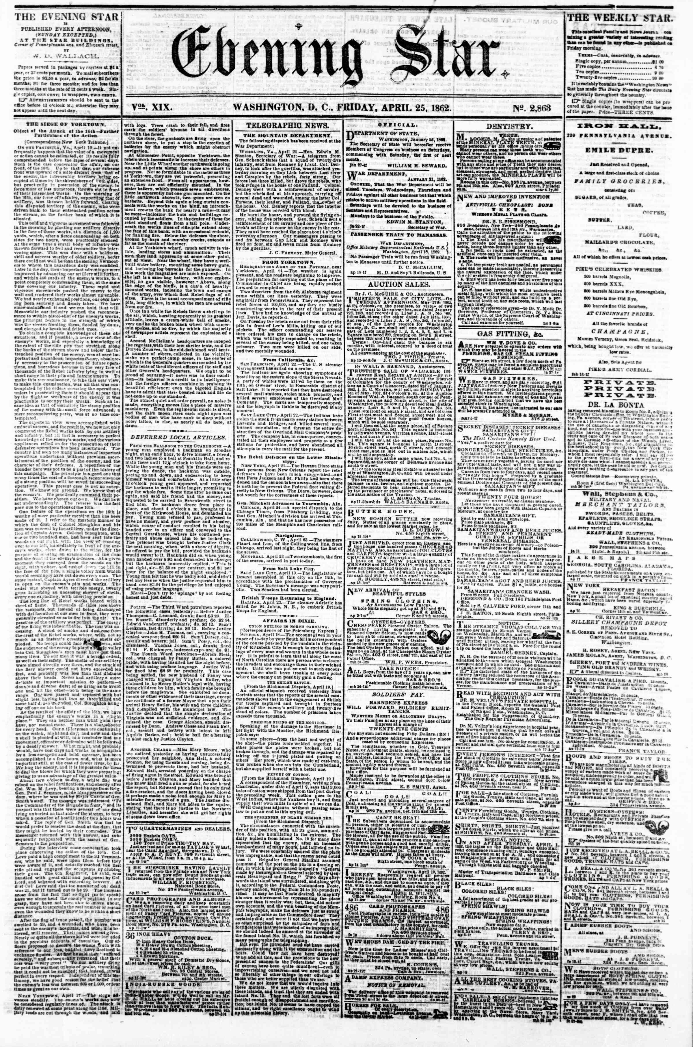 Newspaper of Evening Star dated April 25, 1862 Page 1