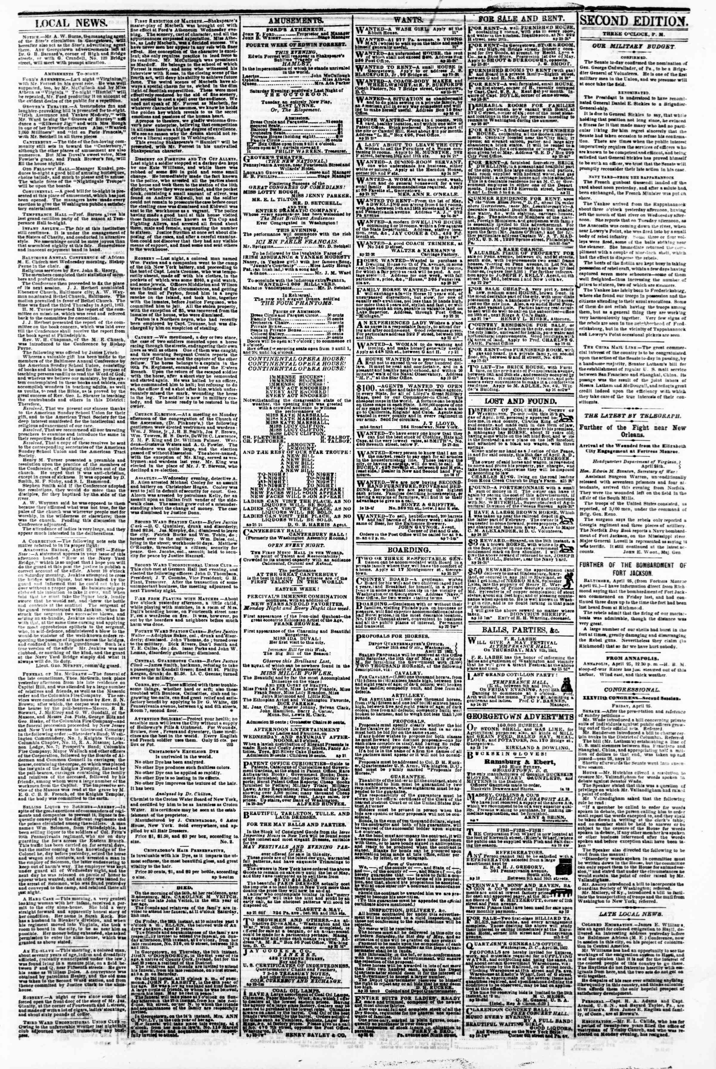 Newspaper of Evening Star dated 25 Nisan 1862 Page 3