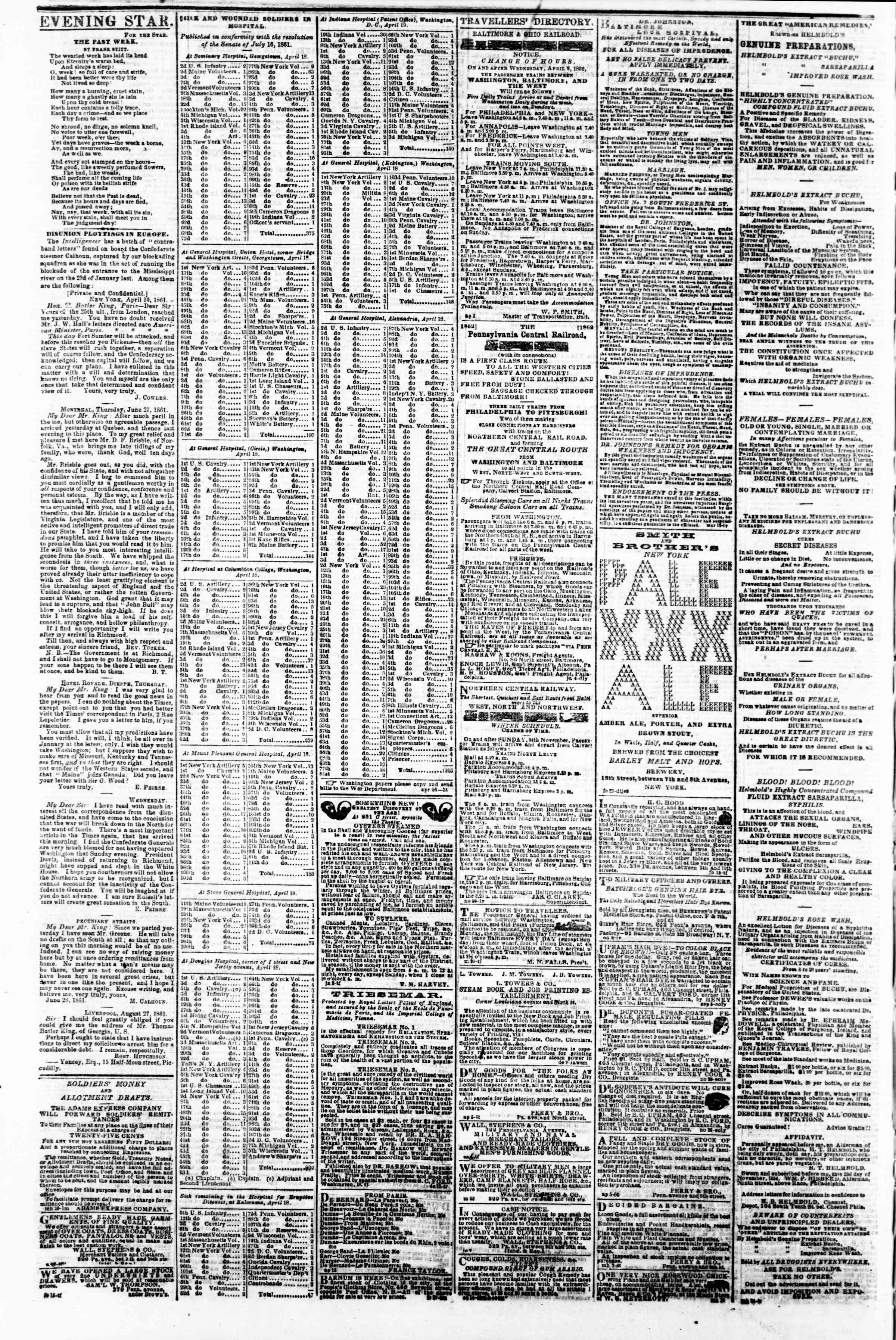 Newspaper of Evening Star dated April 26, 1862 Page 4