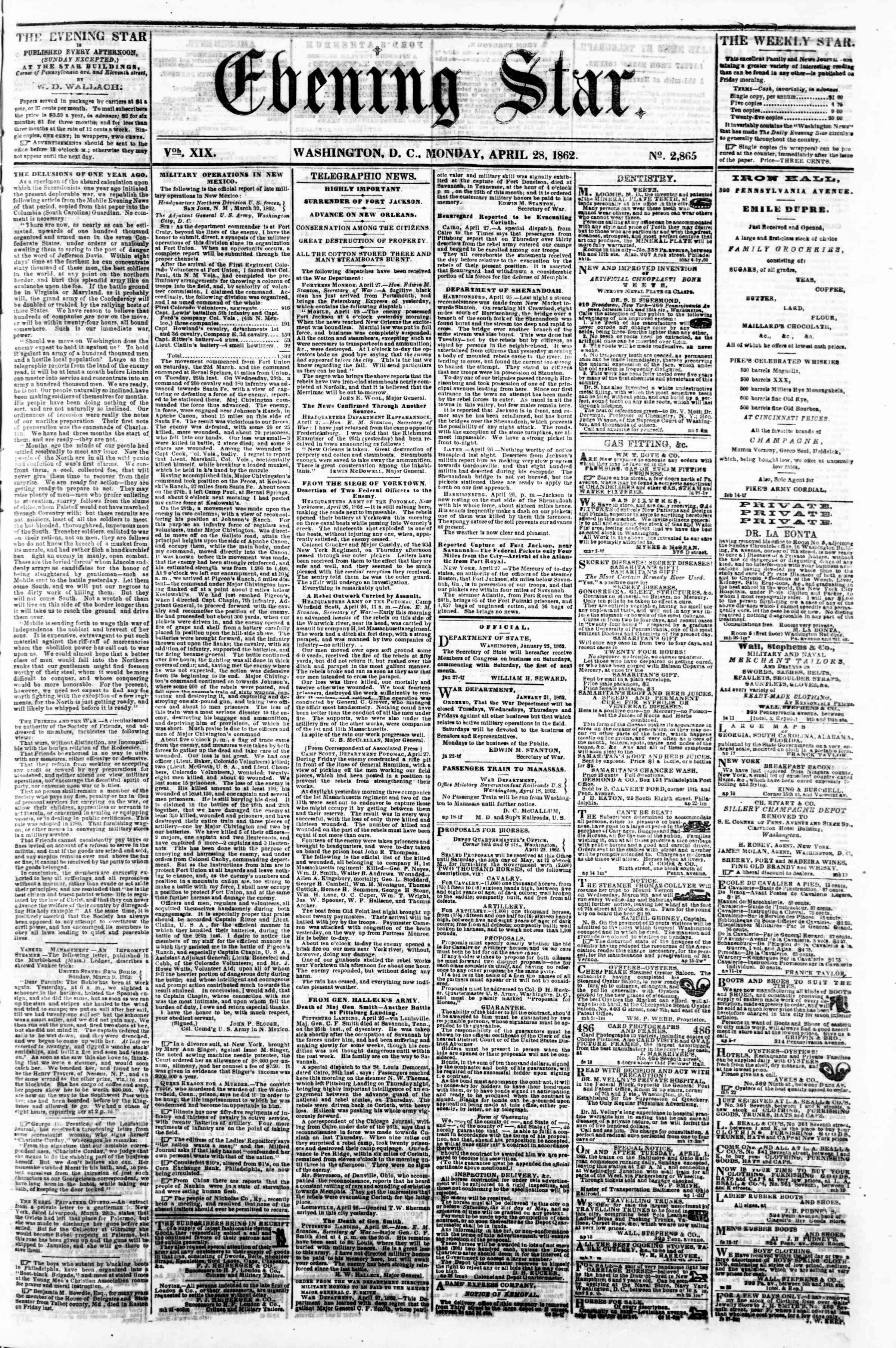 28 Nisan 1862 tarihli Evening Star Gazetesi Sayfa 1