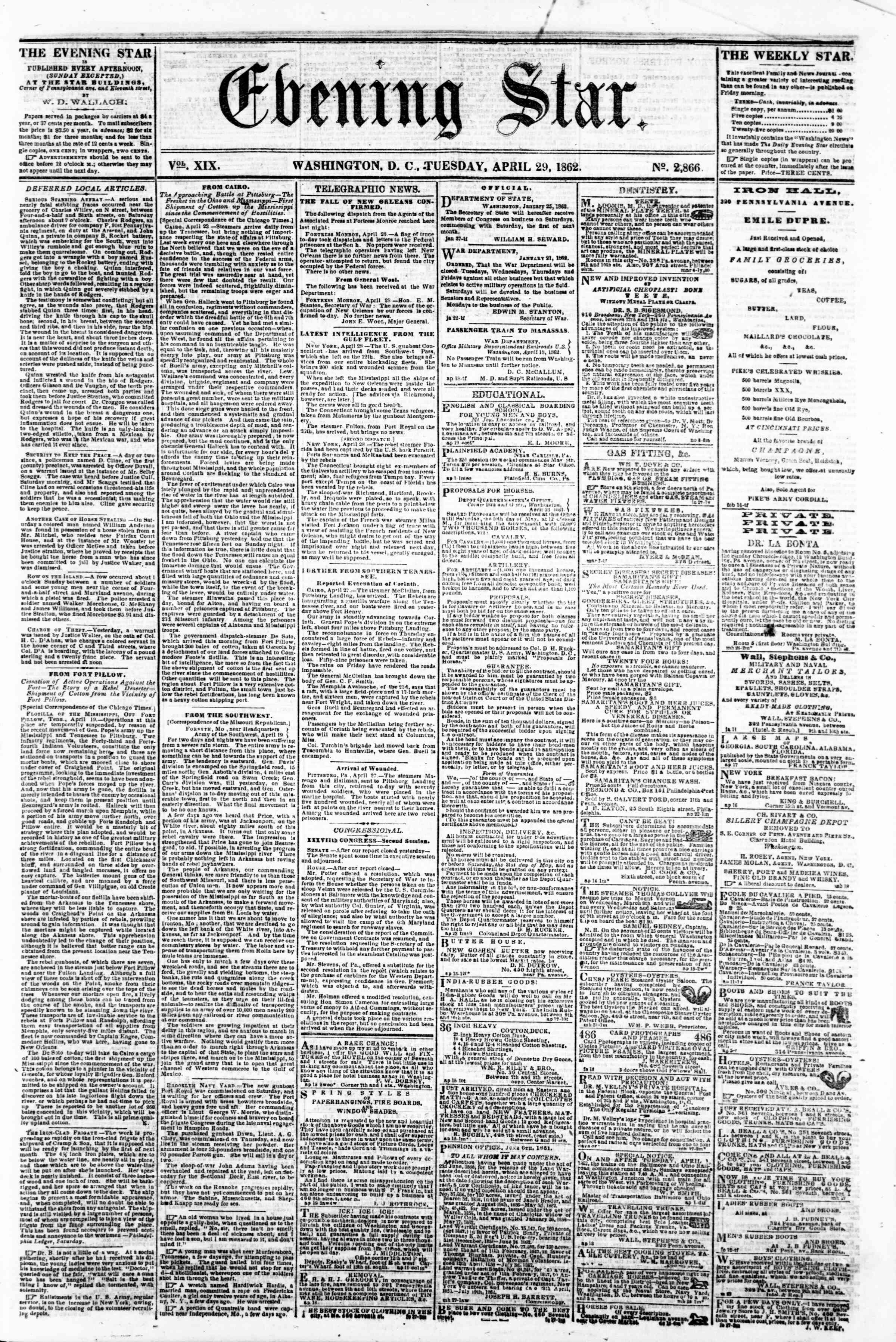 Newspaper of Evening Star dated April 29, 1862 Page 1