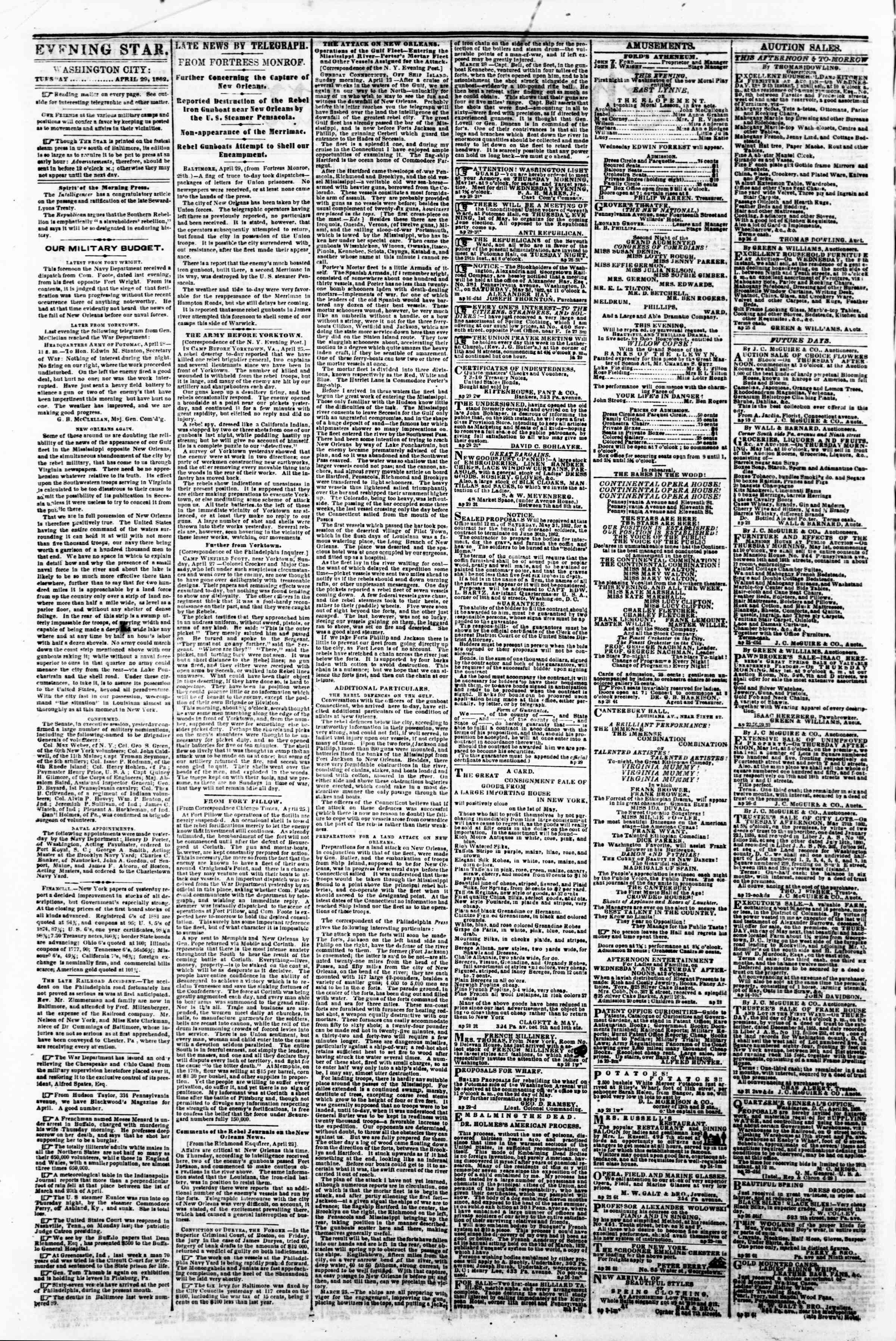 Newspaper of Evening Star dated April 29, 1862 Page 2