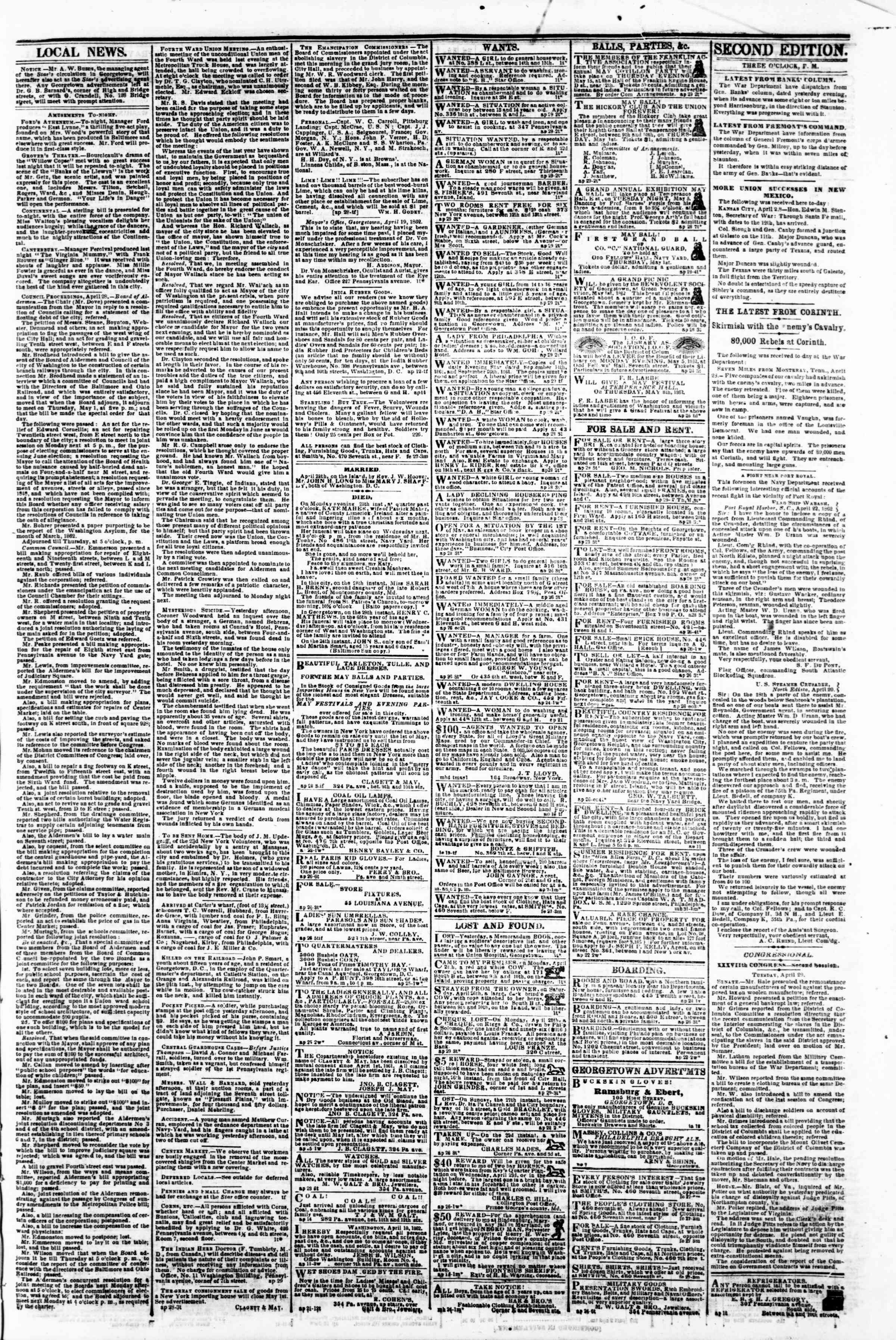 Newspaper of Evening Star dated April 29, 1862 Page 3