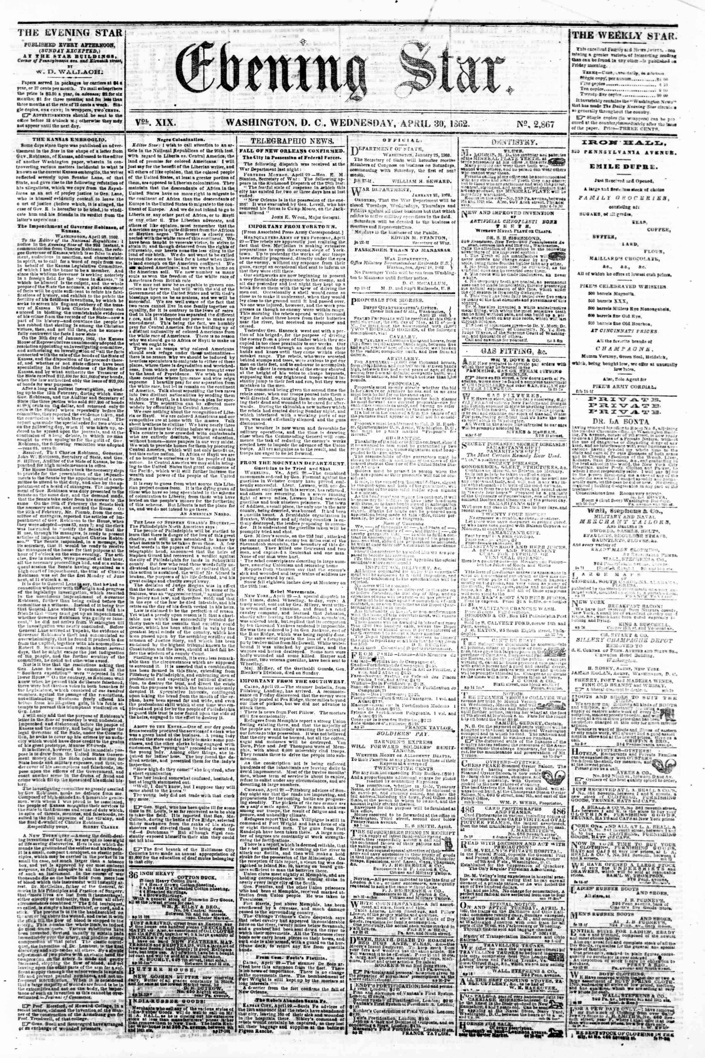 Newspaper of Evening Star dated April 30, 1862 Page 1