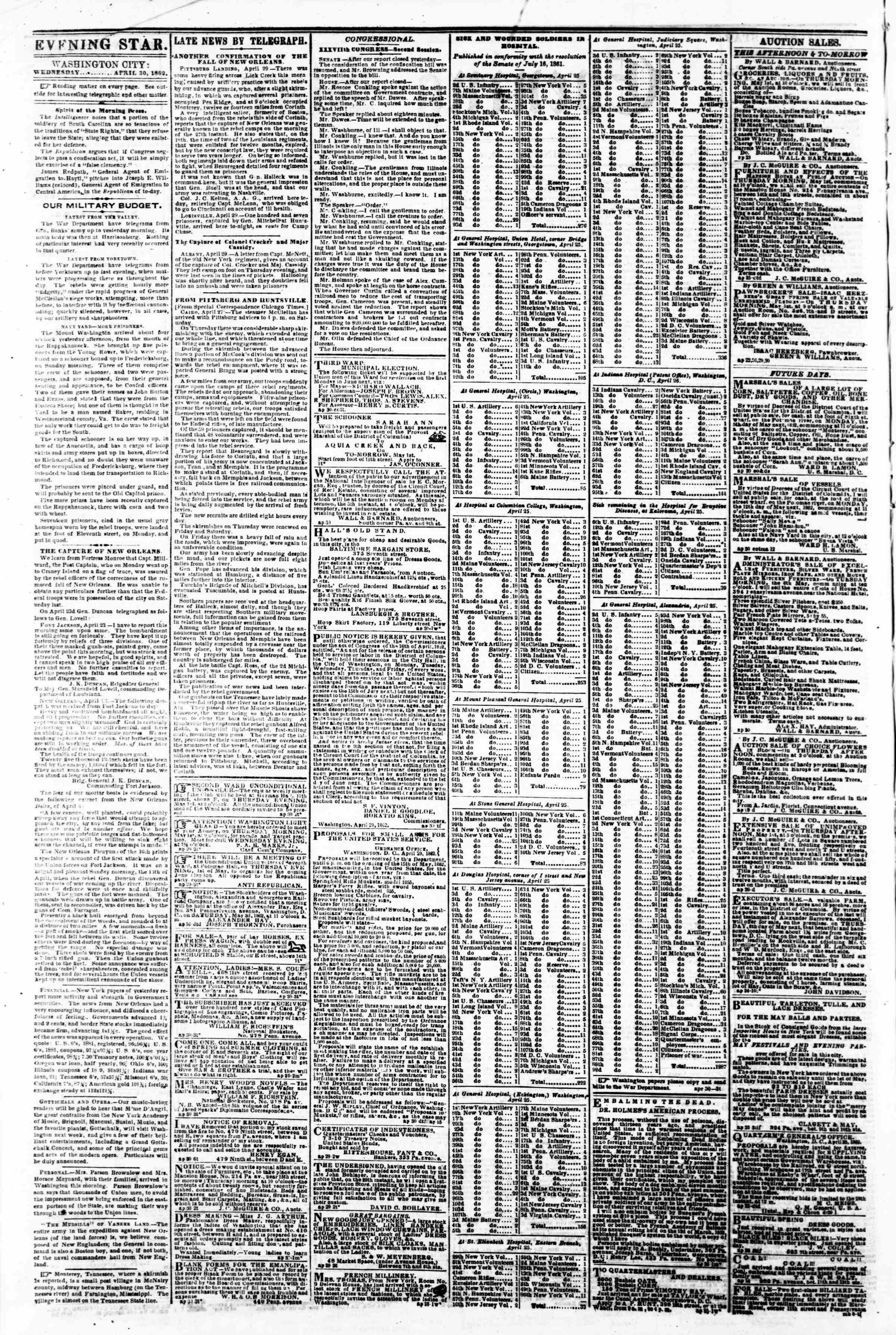 Newspaper of Evening Star dated April 30, 1862 Page 2