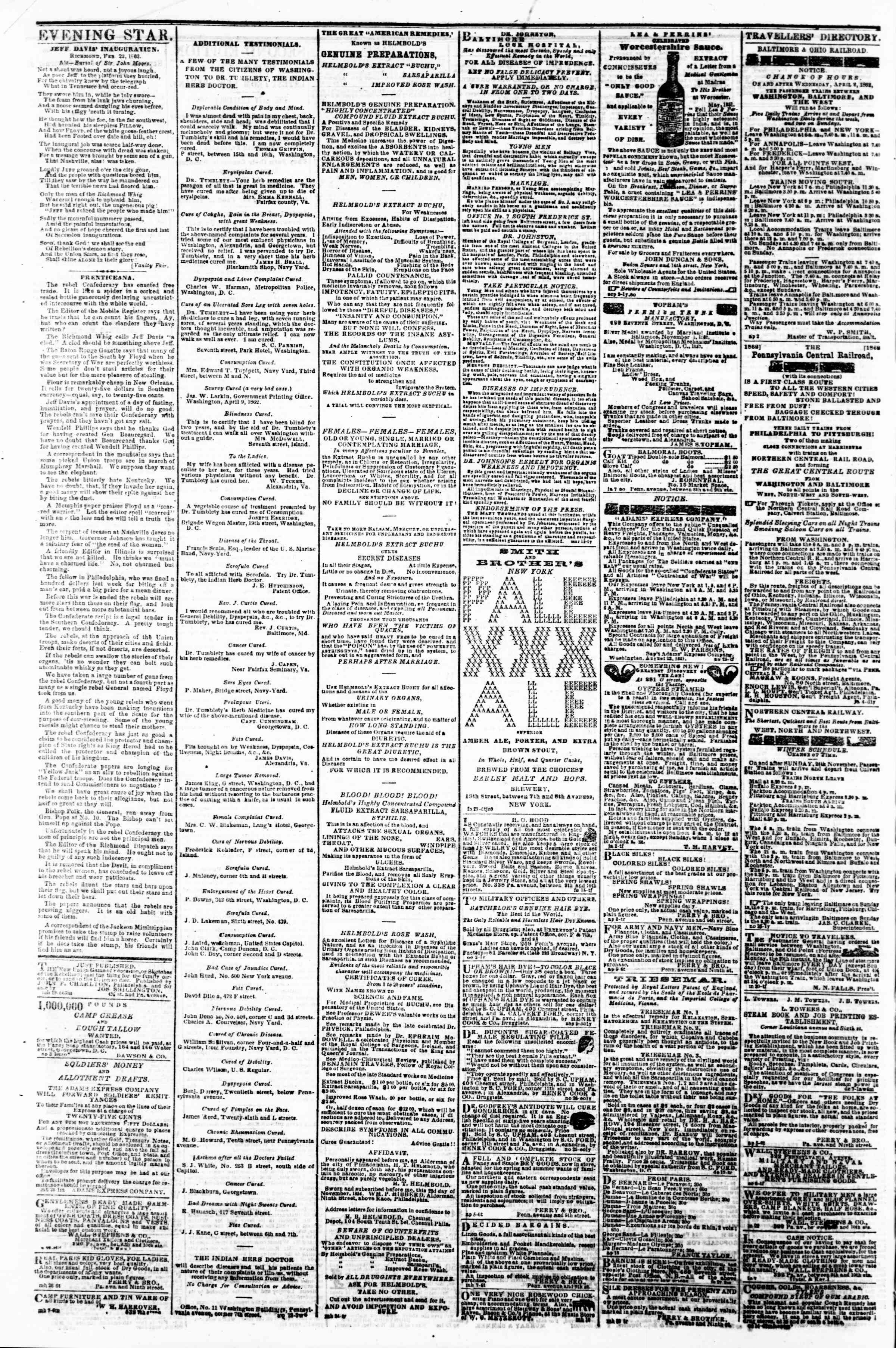 Newspaper of Evening Star dated April 30, 1862 Page 4