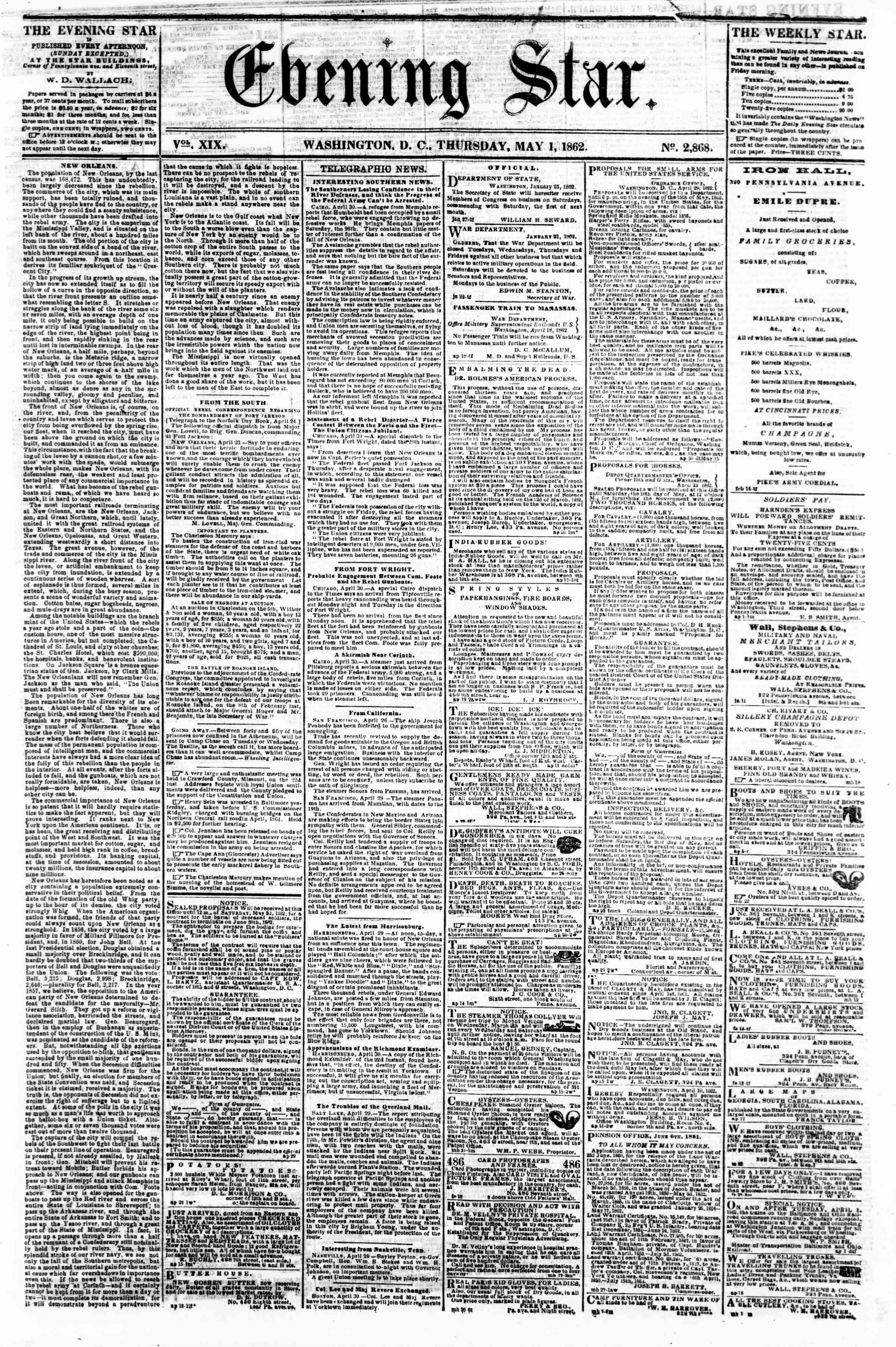 Newspaper of Evening Star dated May 1, 1862 Page 1