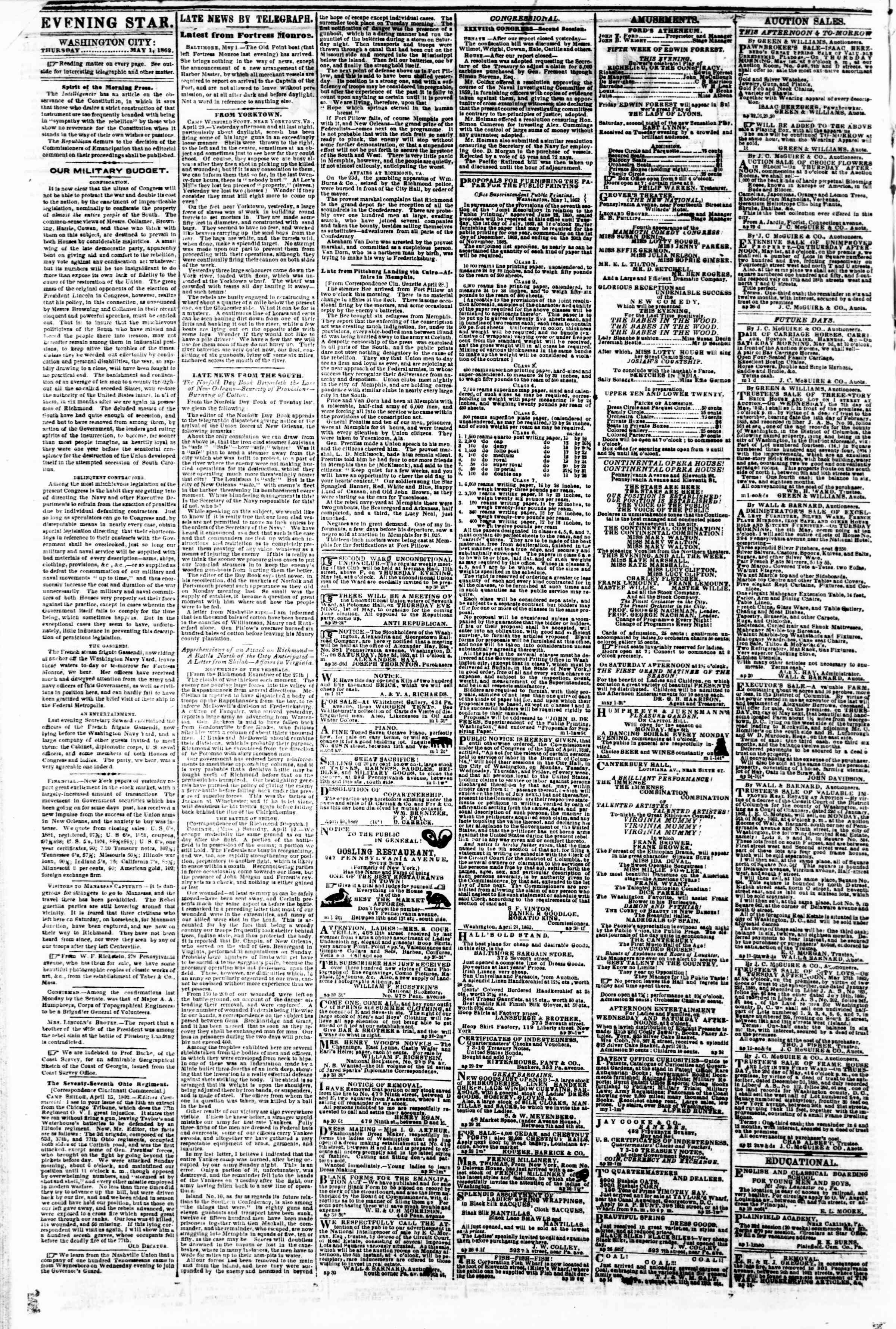 Newspaper of Evening Star dated May 1, 1862 Page 2