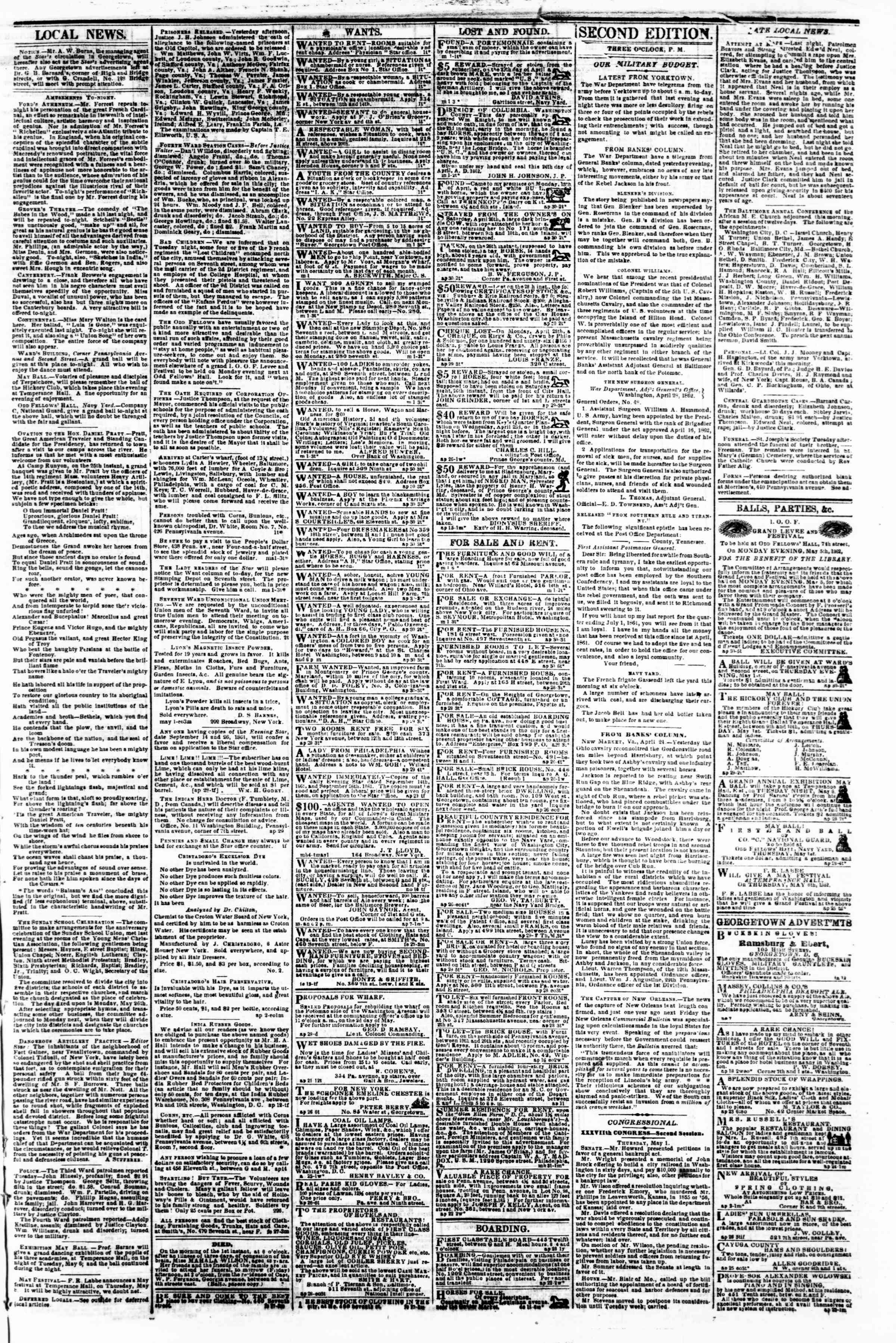 1 Mayıs 1862 tarihli Evening Star Gazetesi Sayfa 3