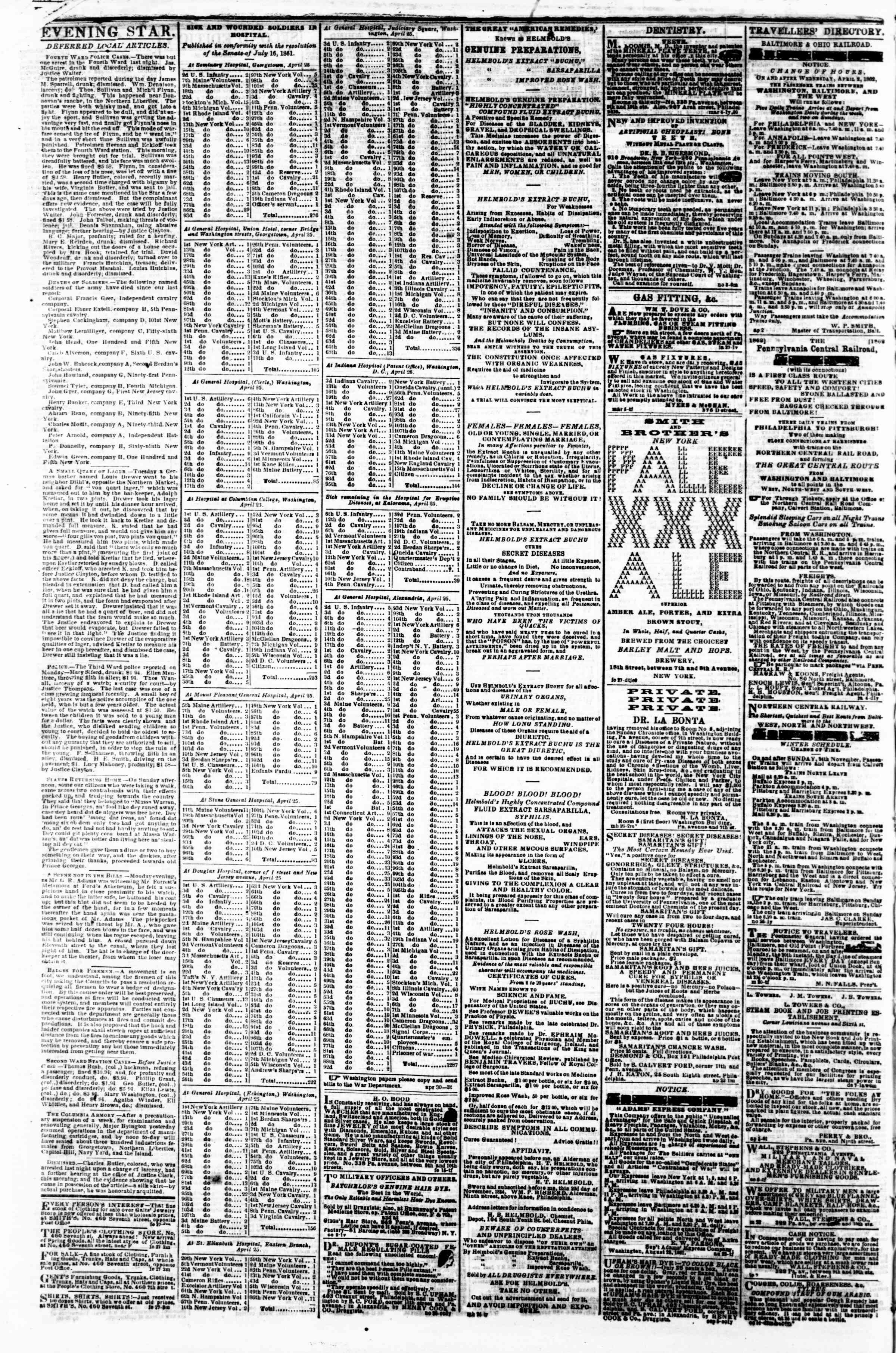 Newspaper of Evening Star dated May 1, 1862 Page 4
