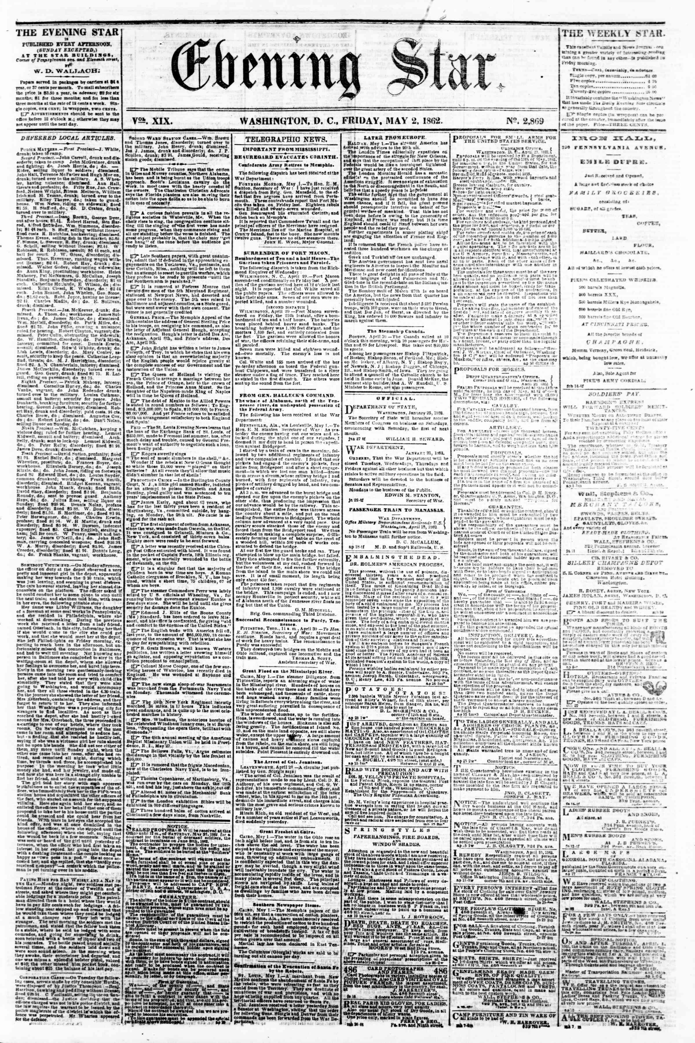 Newspaper of Evening Star dated May 2, 1862 Page 1