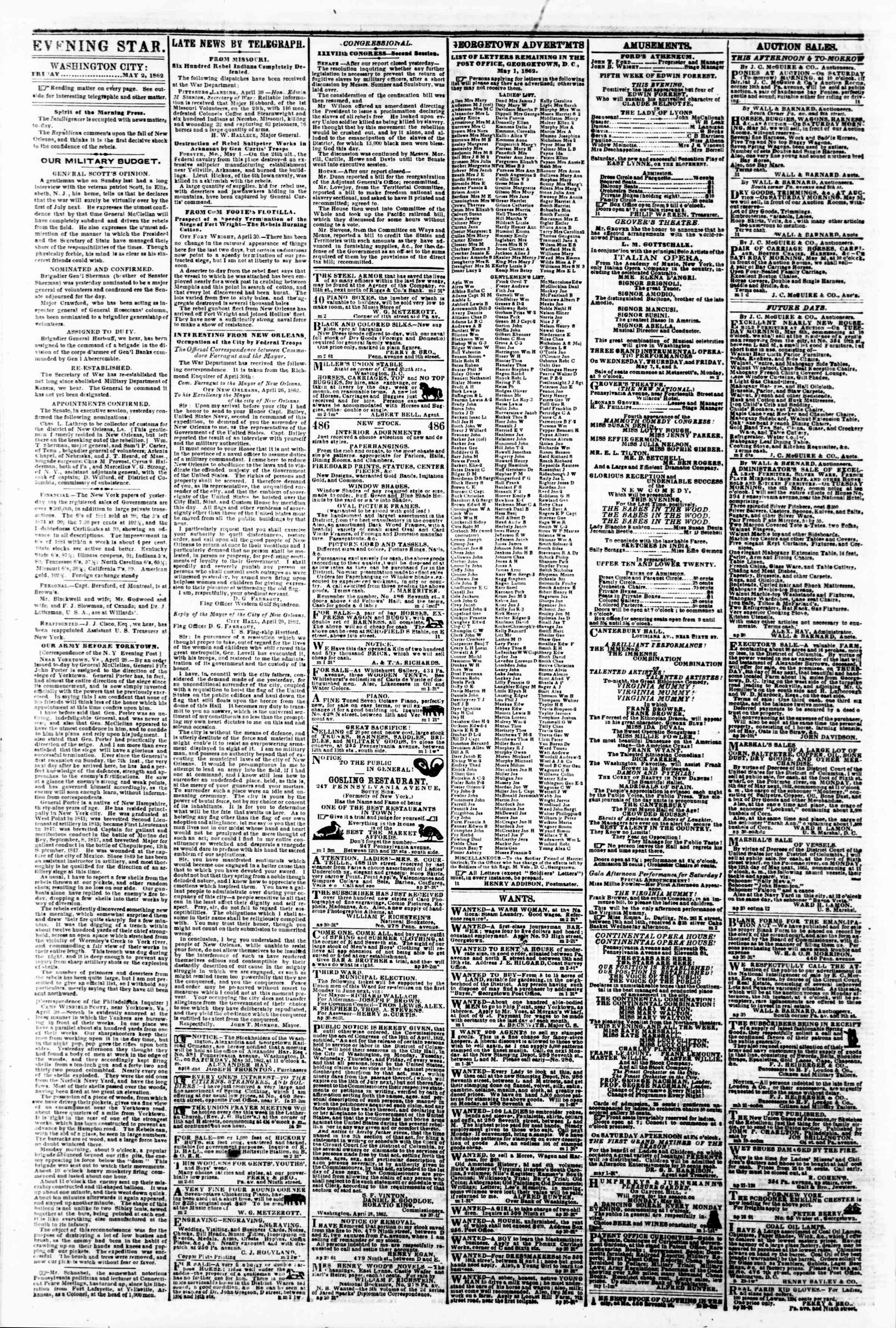 Newspaper of Evening Star dated May 2, 1862 Page 2