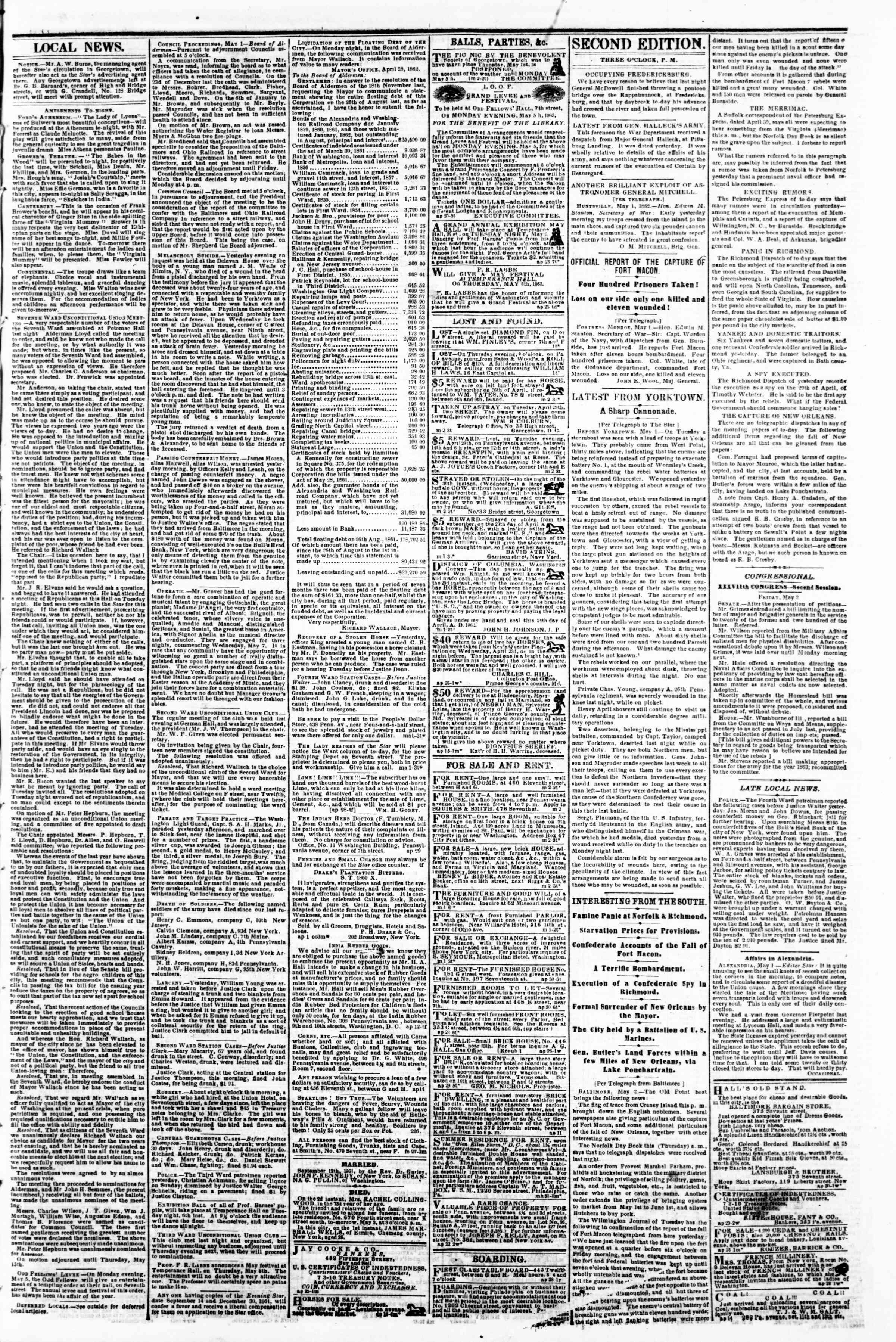Newspaper of Evening Star dated May 2, 1862 Page 3