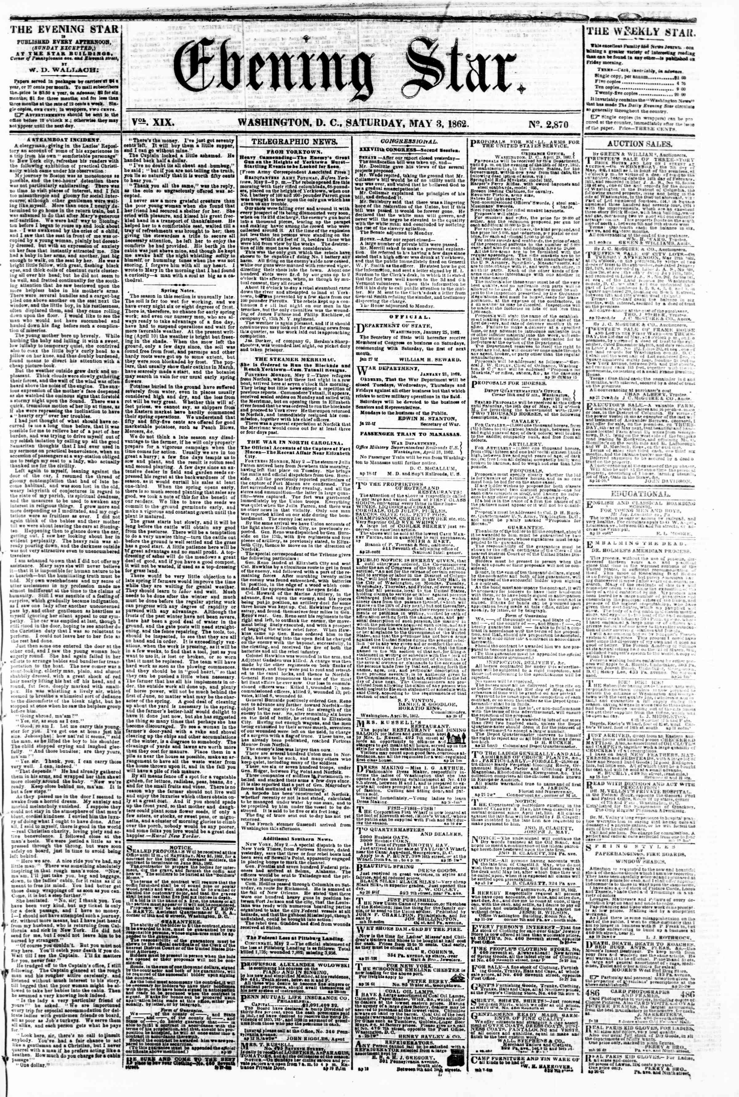 Newspaper of Evening Star dated May 3, 1862 Page 1