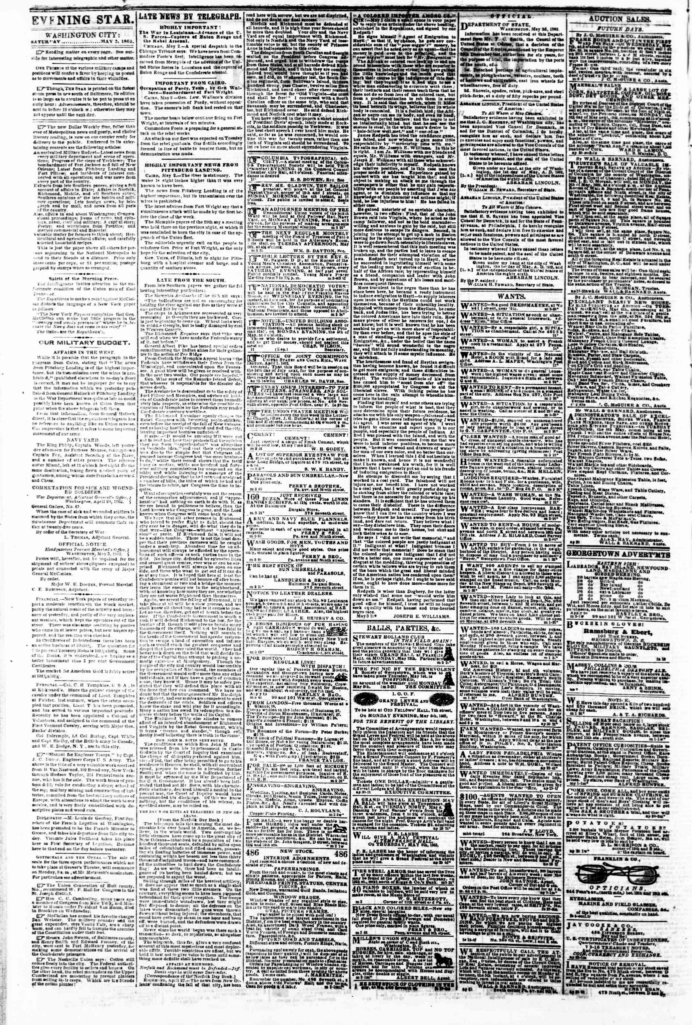 Newspaper of Evening Star dated May 3, 1862 Page 2