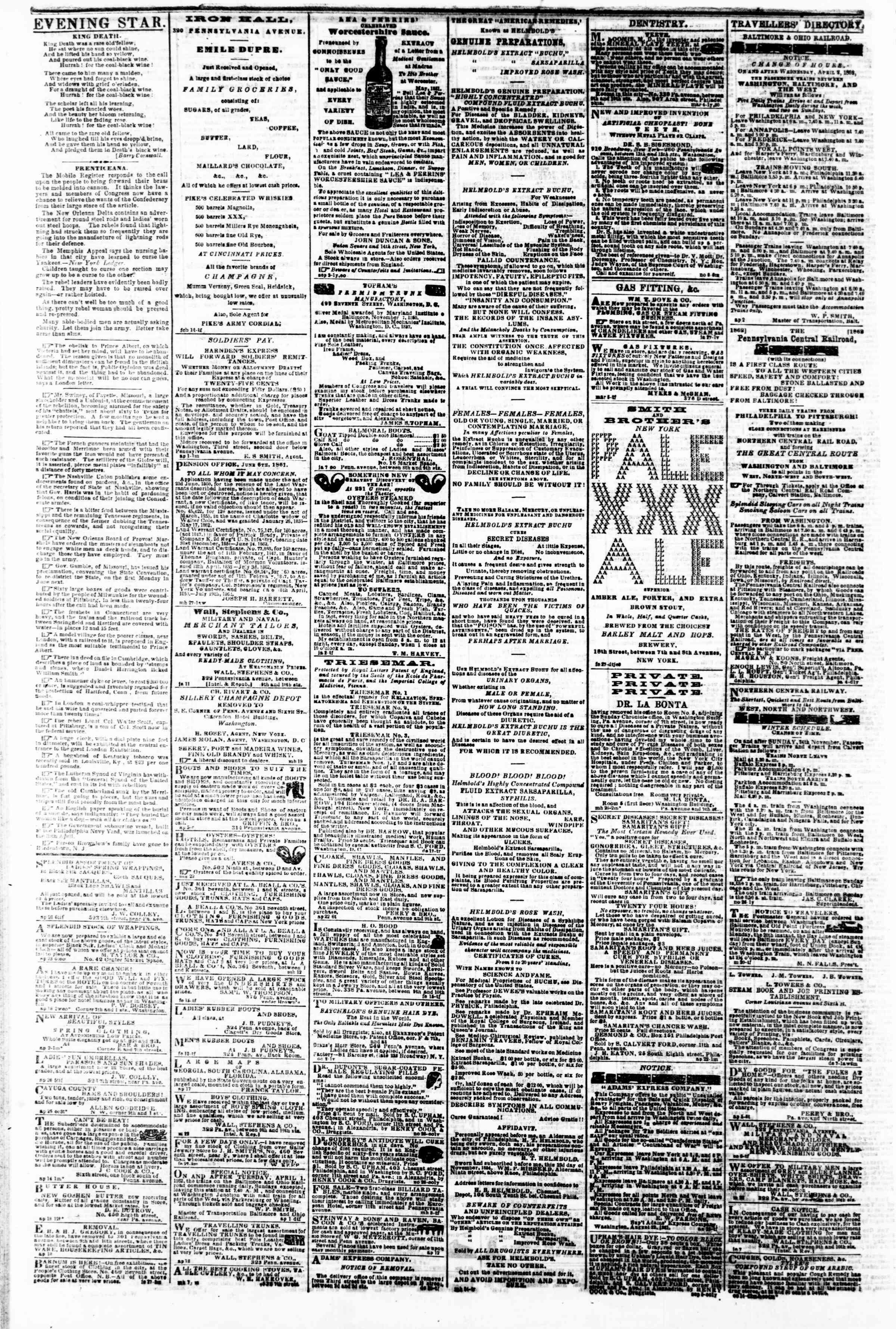Newspaper of Evening Star dated May 3, 1862 Page 4