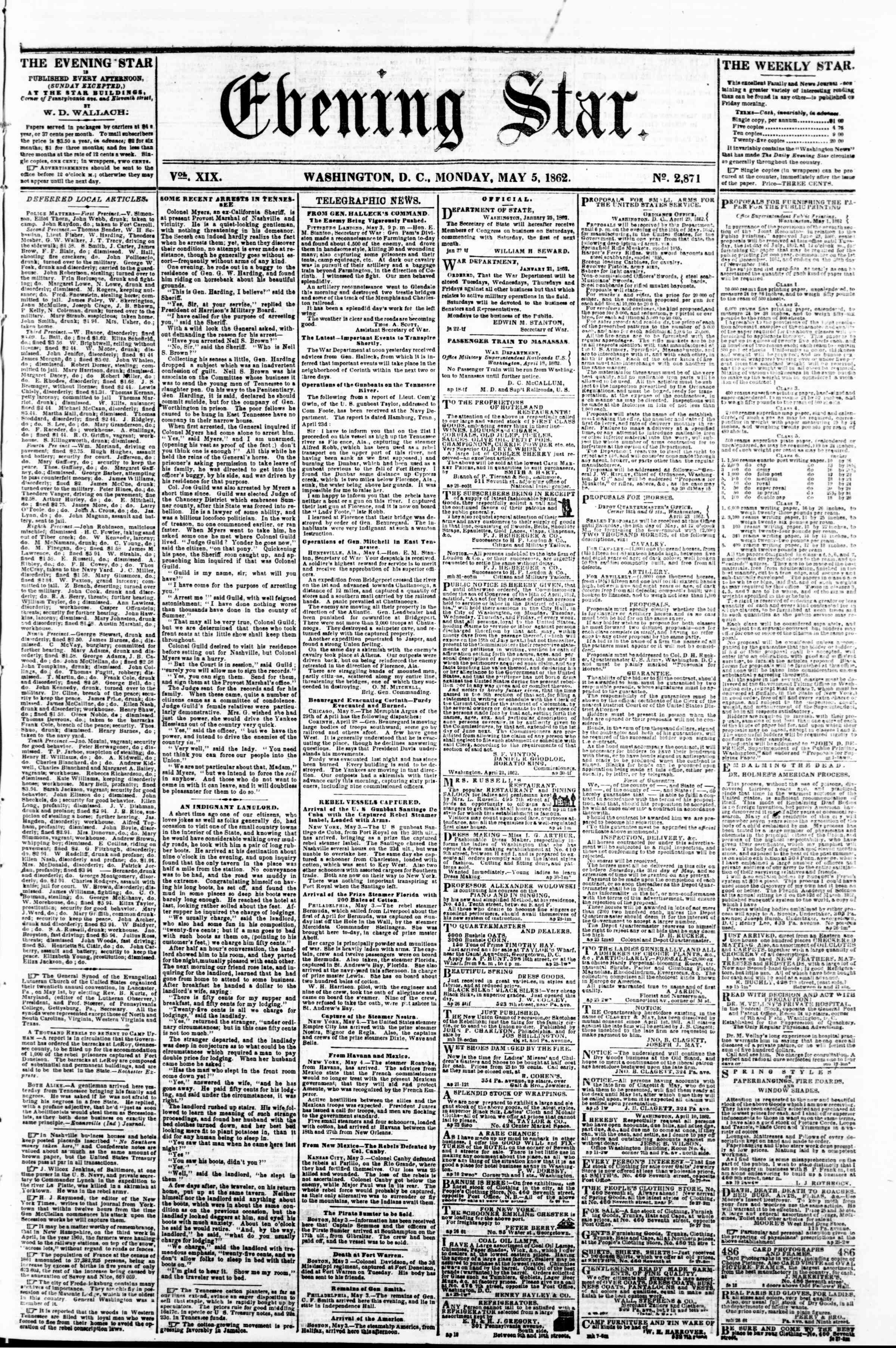 Newspaper of Evening Star dated May 5, 1862 Page 1