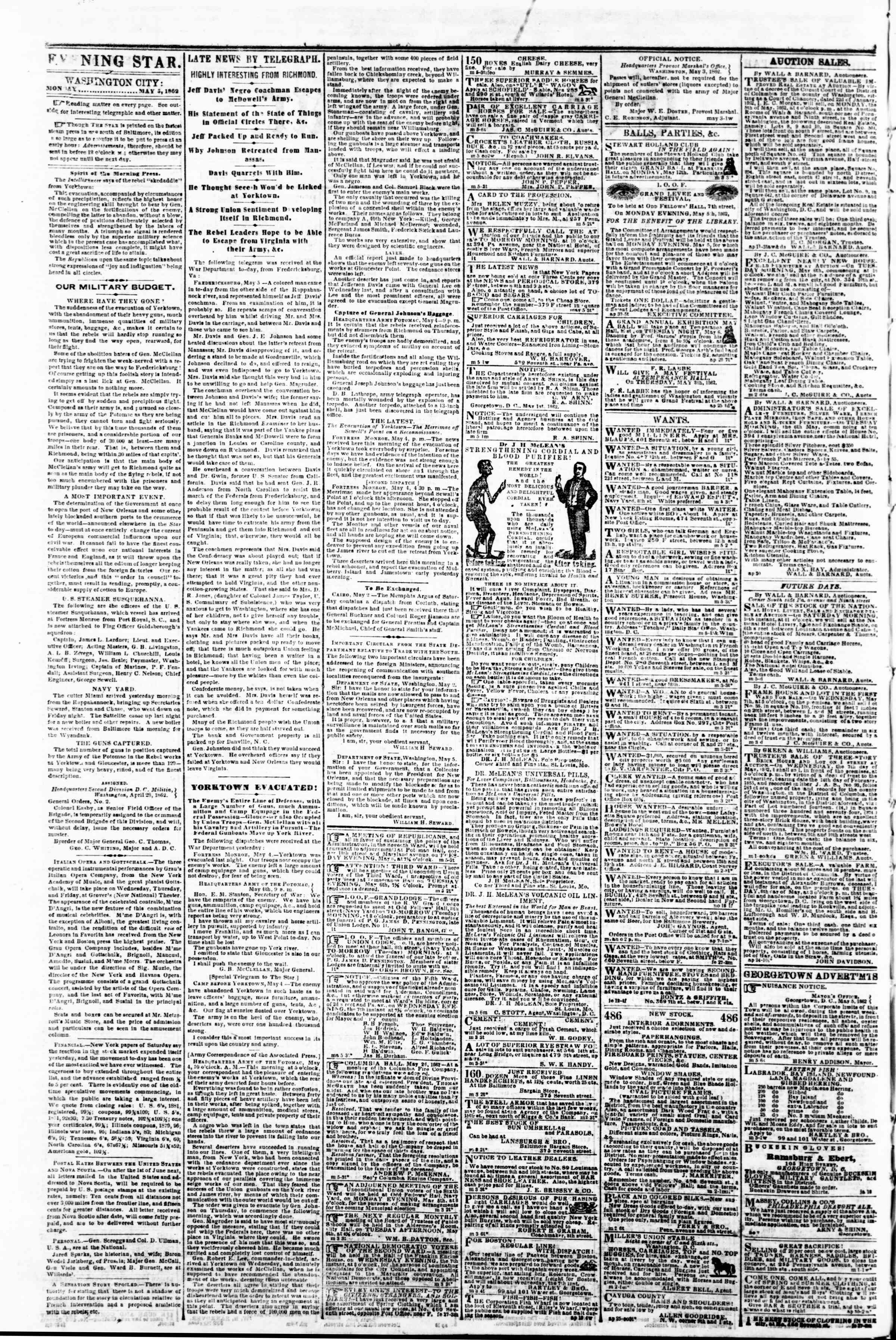 Newspaper of Evening Star dated May 5, 1862 Page 2