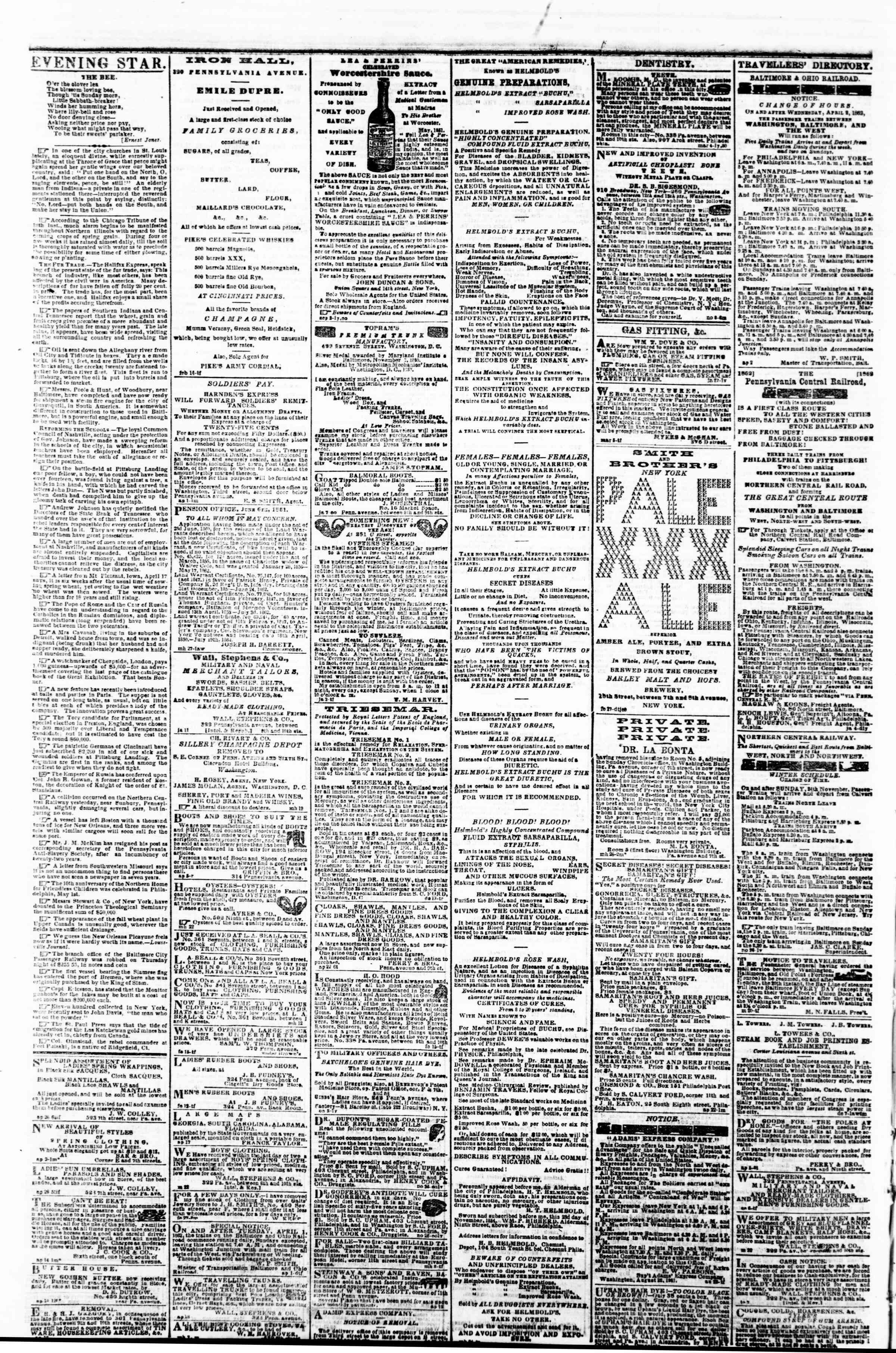 Newspaper of Evening Star dated May 5, 1862 Page 4