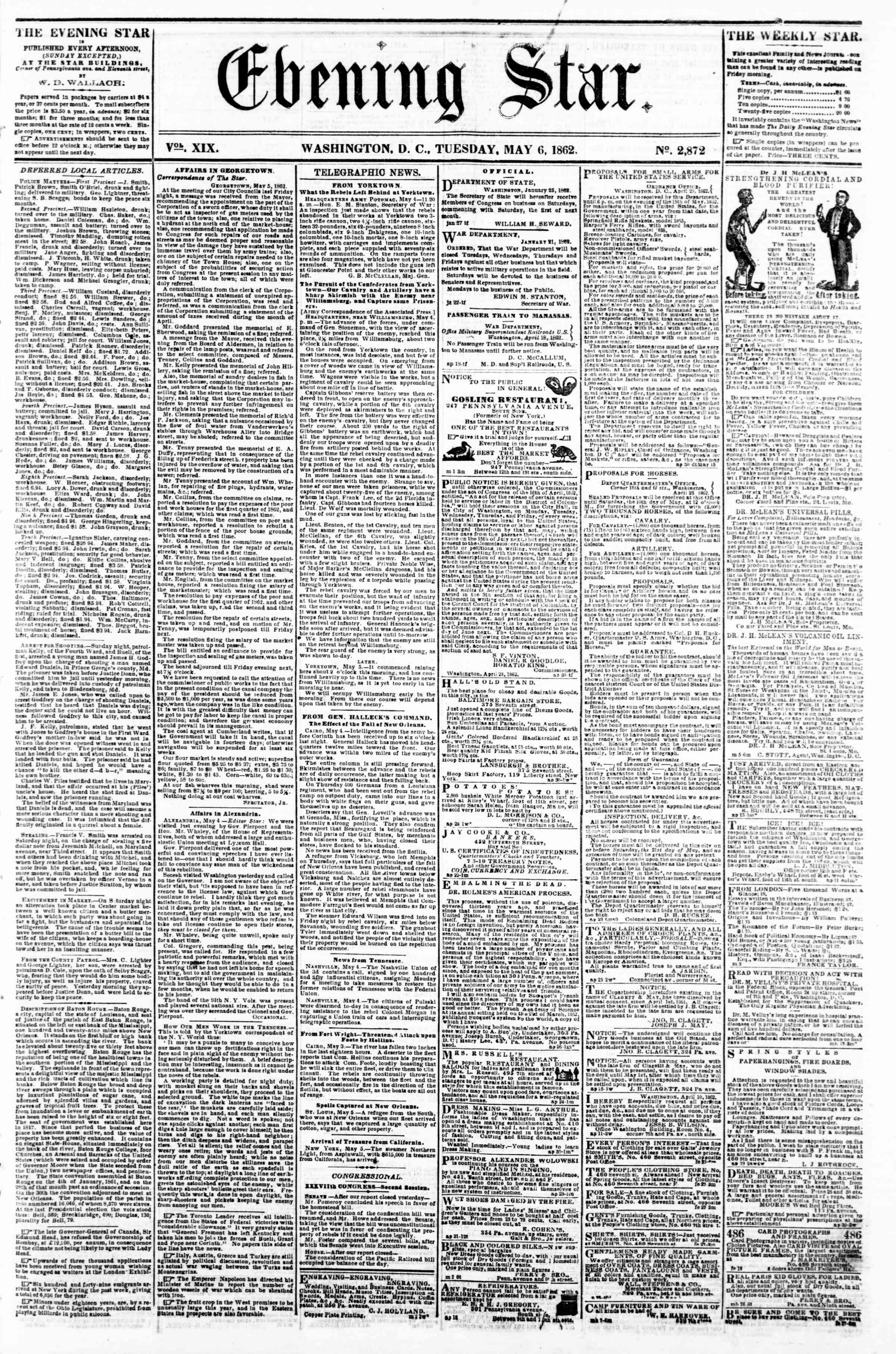 Newspaper of Evening Star dated May 6, 1862 Page 1