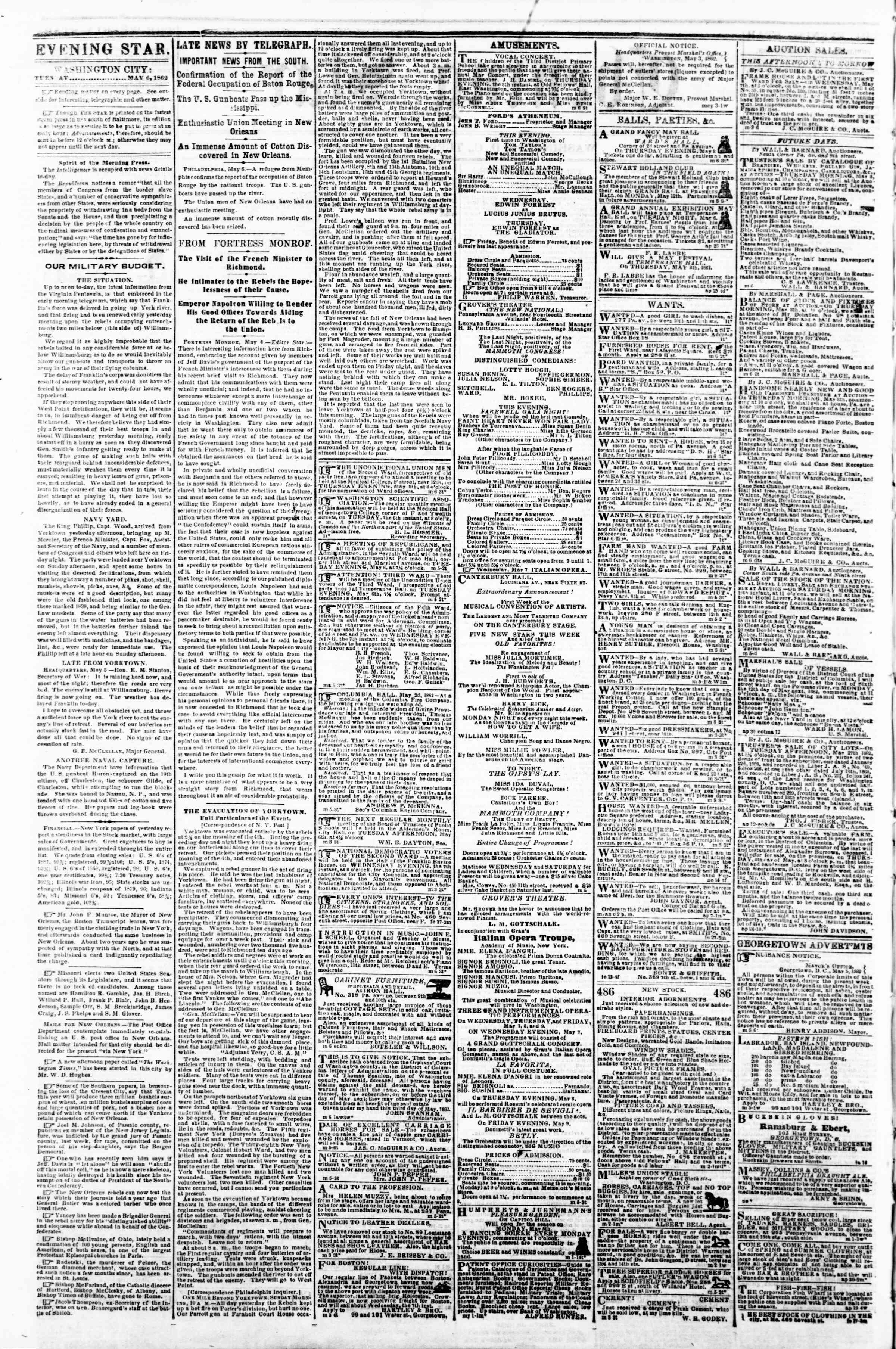 Newspaper of Evening Star dated May 6, 1862 Page 2