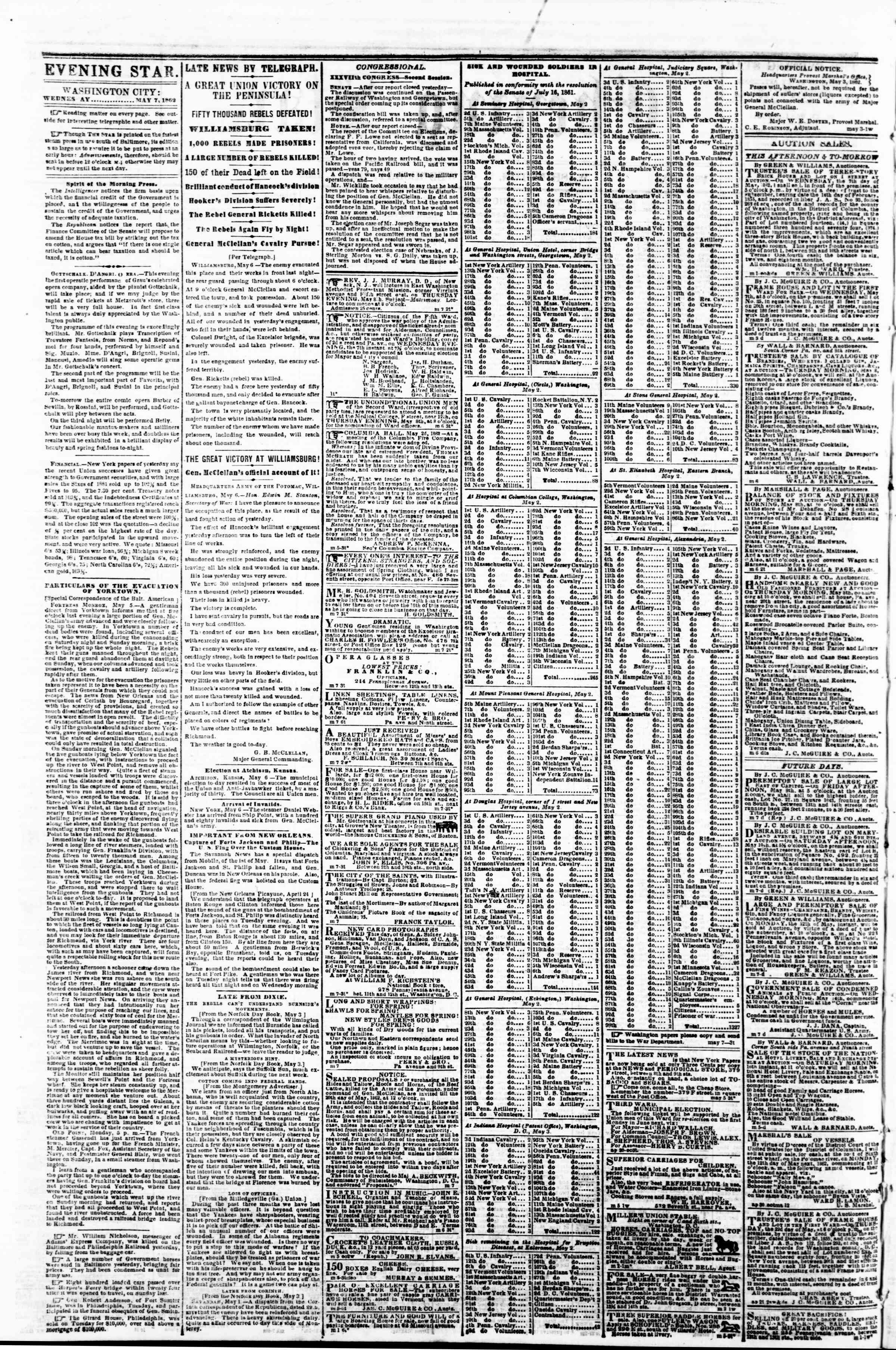 Newspaper of Evening Star dated May 7, 1862 Page 2