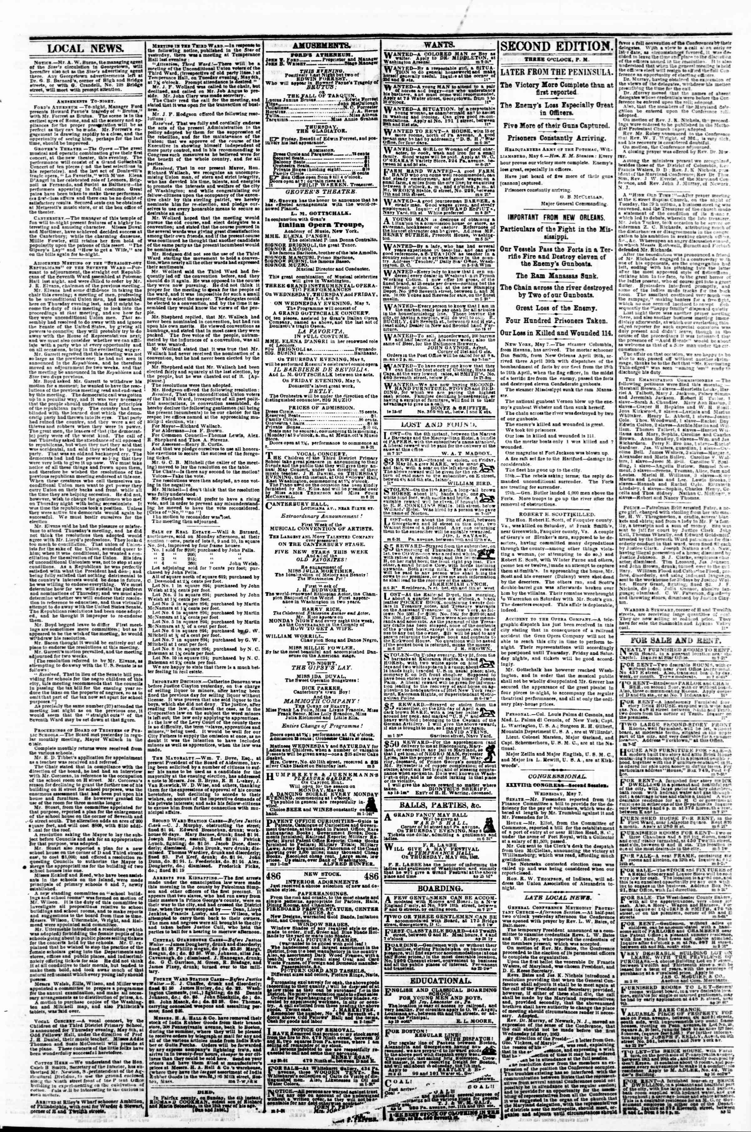 Newspaper of Evening Star dated May 7, 1862 Page 3