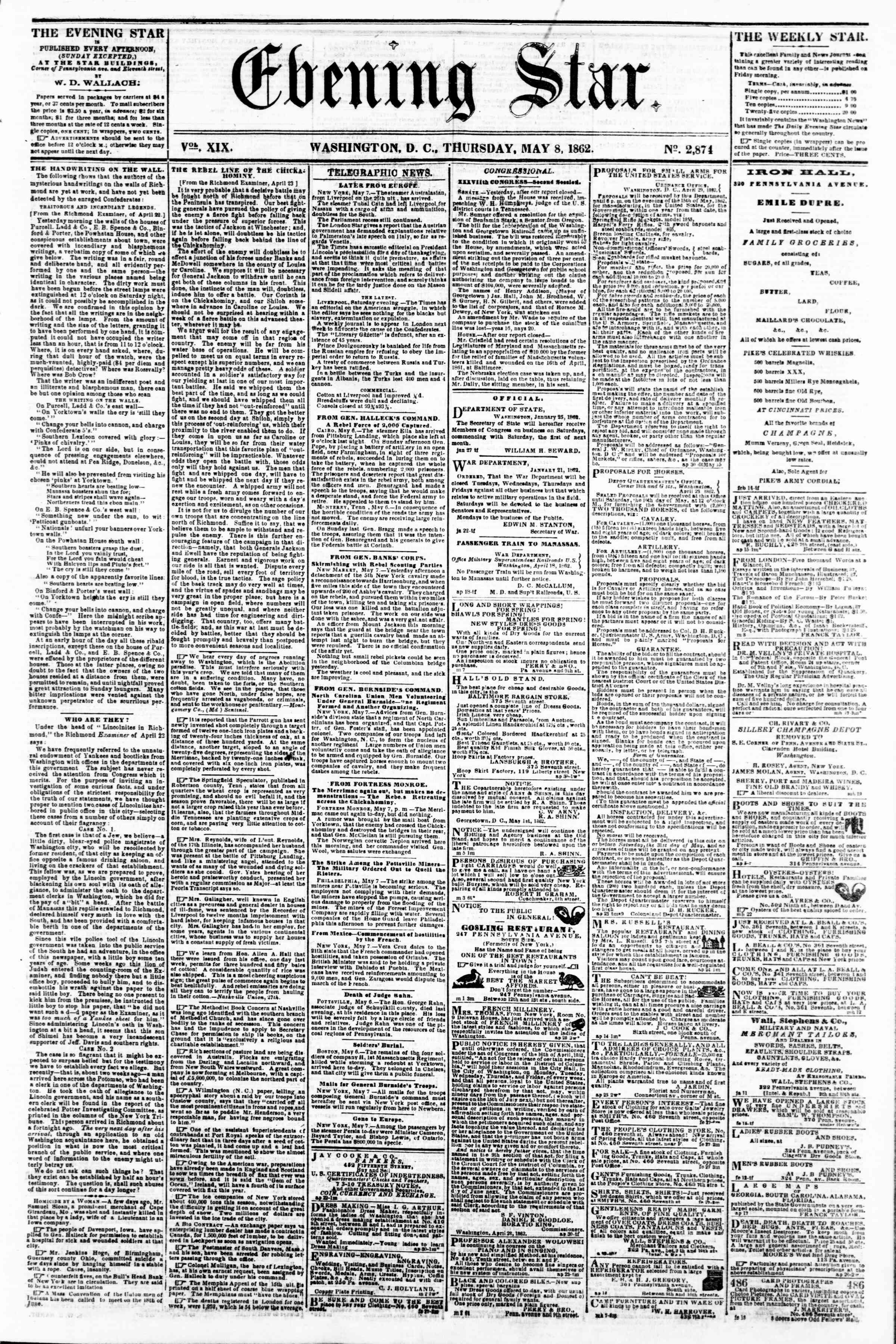 Newspaper of Evening Star dated May 8, 1862 Page 1