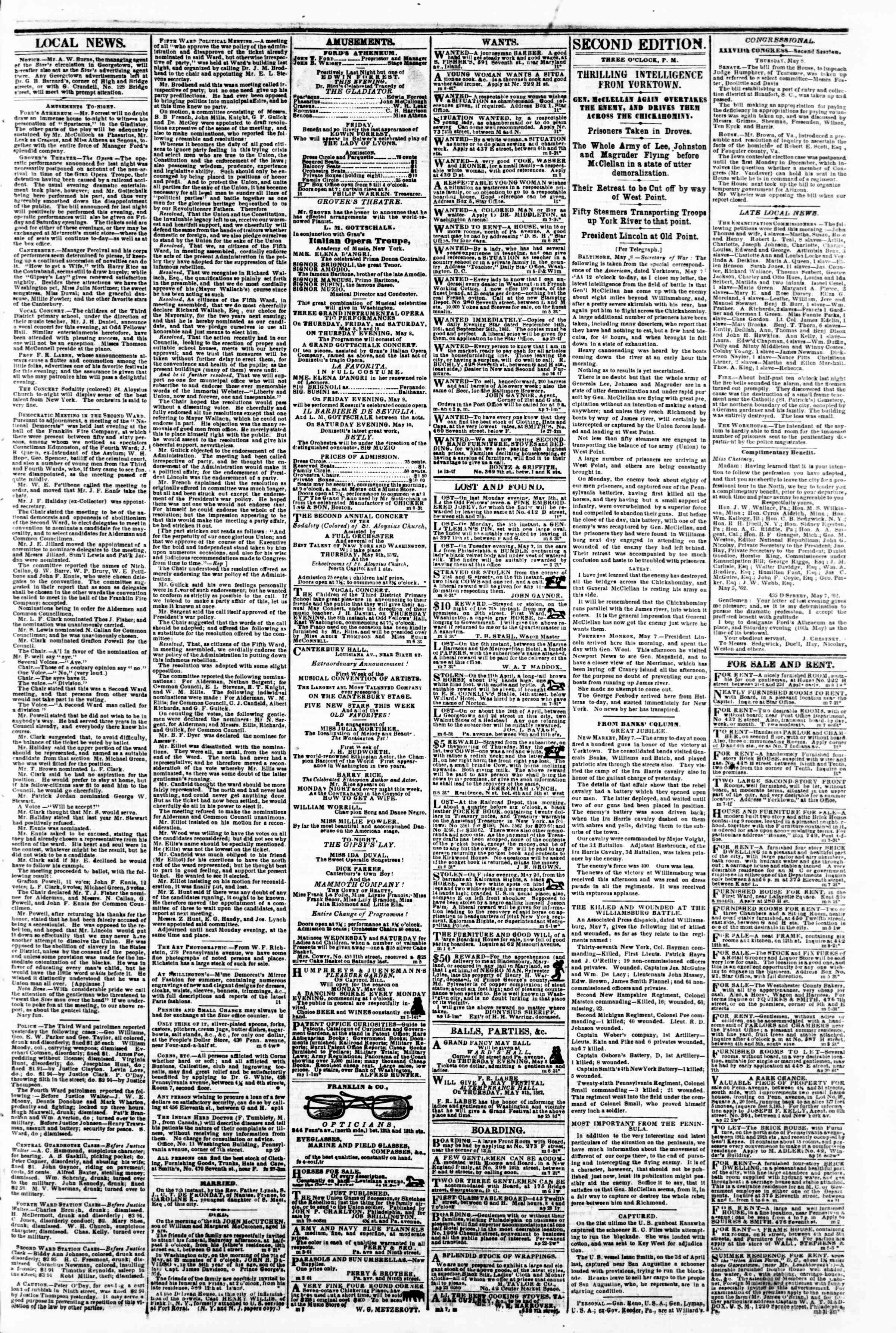Newspaper of Evening Star dated May 8, 1862 Page 3
