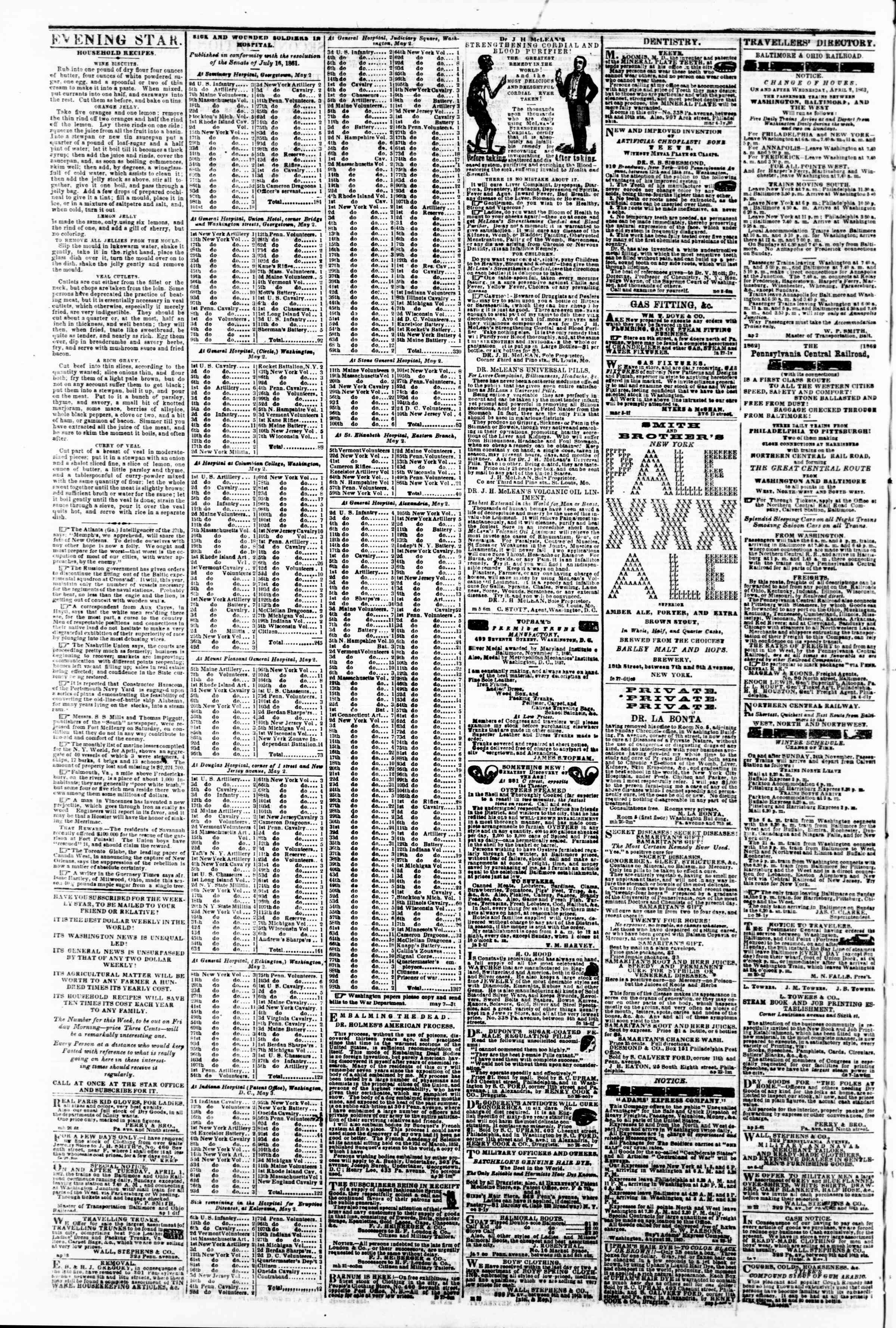 Newspaper of Evening Star dated May 8, 1862 Page 4