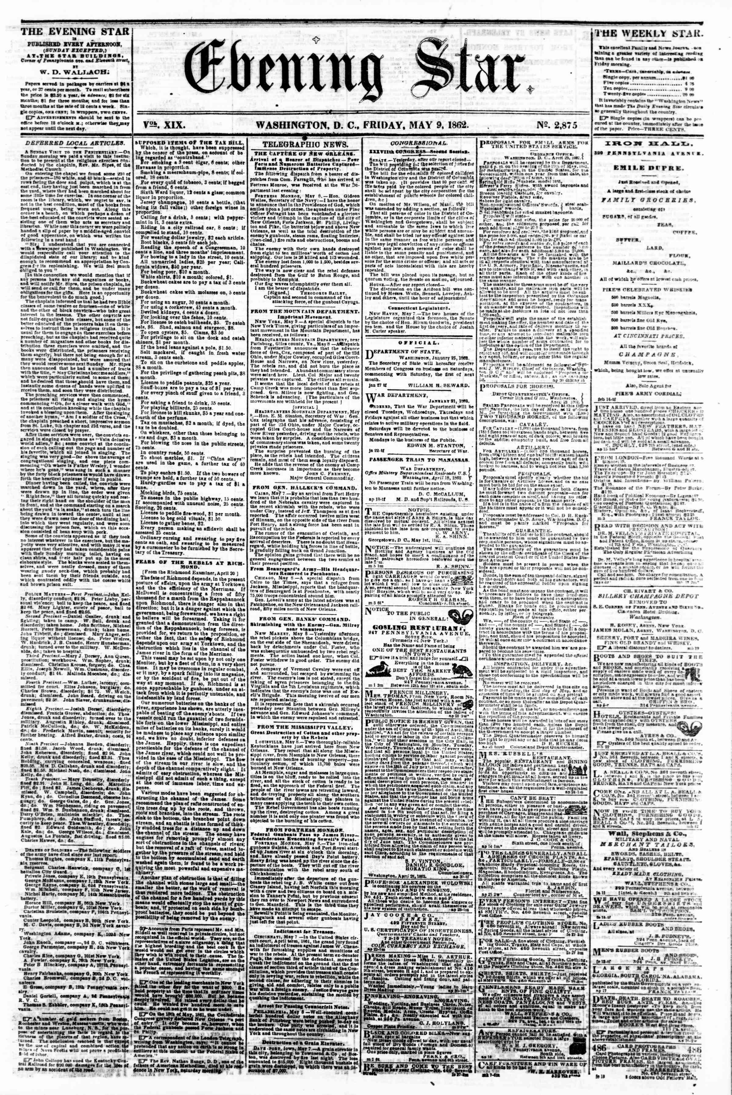 Newspaper of Evening Star dated May 9, 1862 Page 1