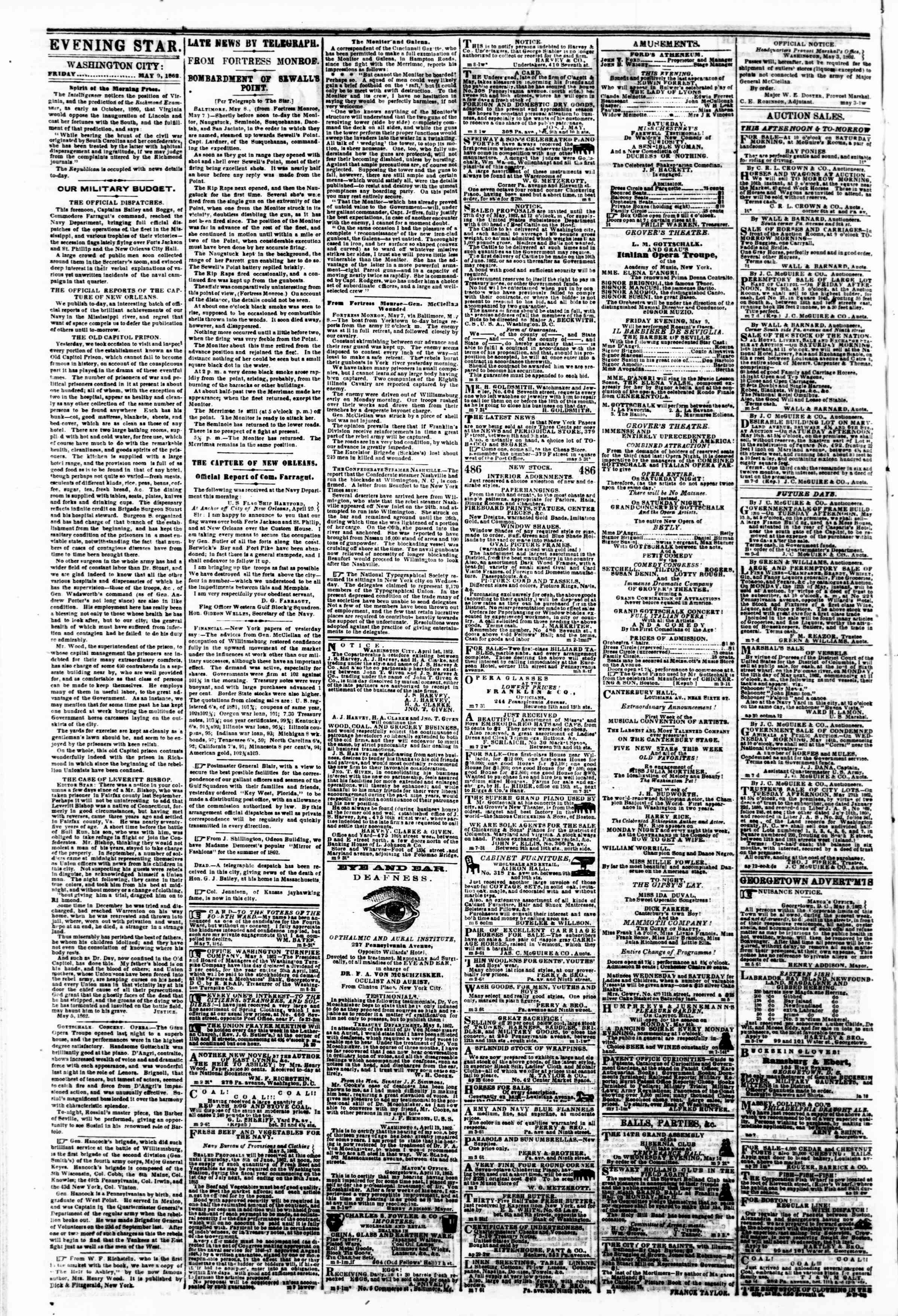 Newspaper of Evening Star dated May 9, 1862 Page 2
