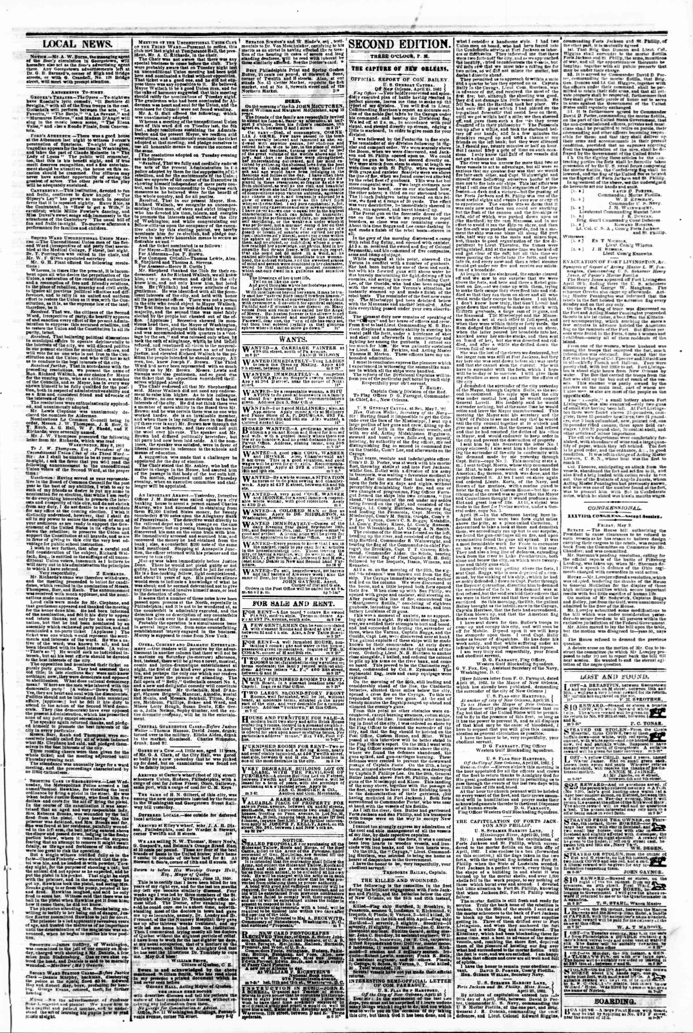 Newspaper of Evening Star dated May 9, 1862 Page 3