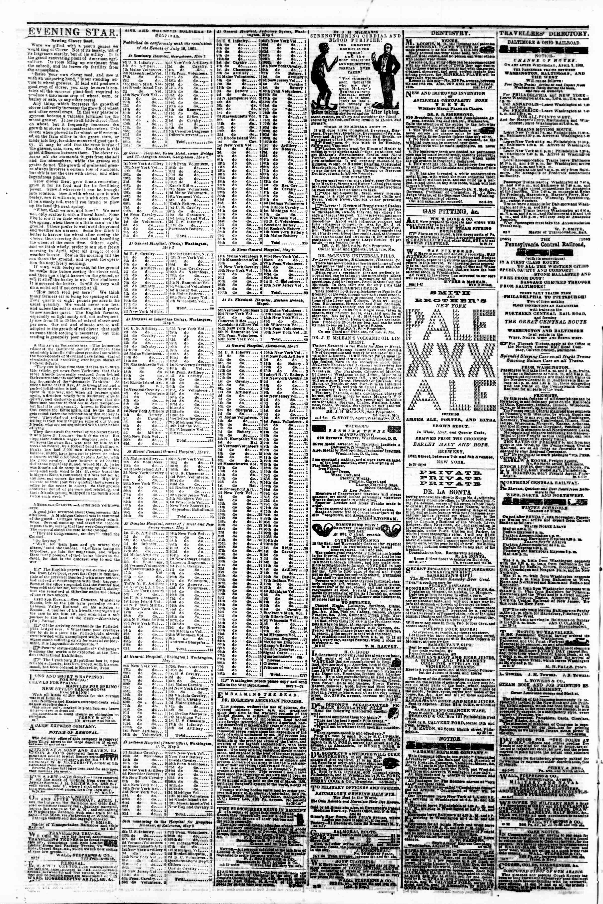 Newspaper of Evening Star dated May 9, 1862 Page 4