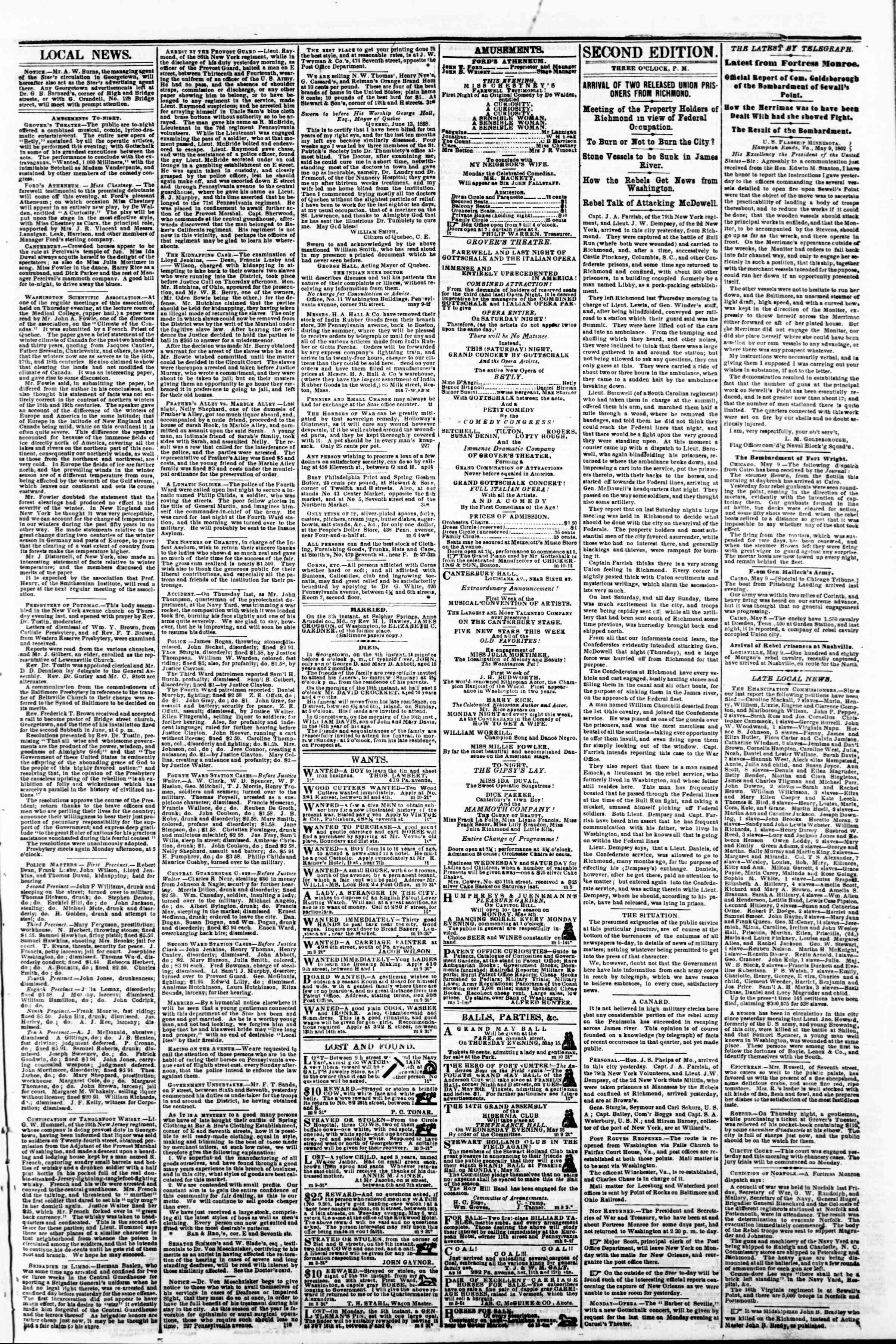 Newspaper of Evening Star dated May 10, 1862 Page 3