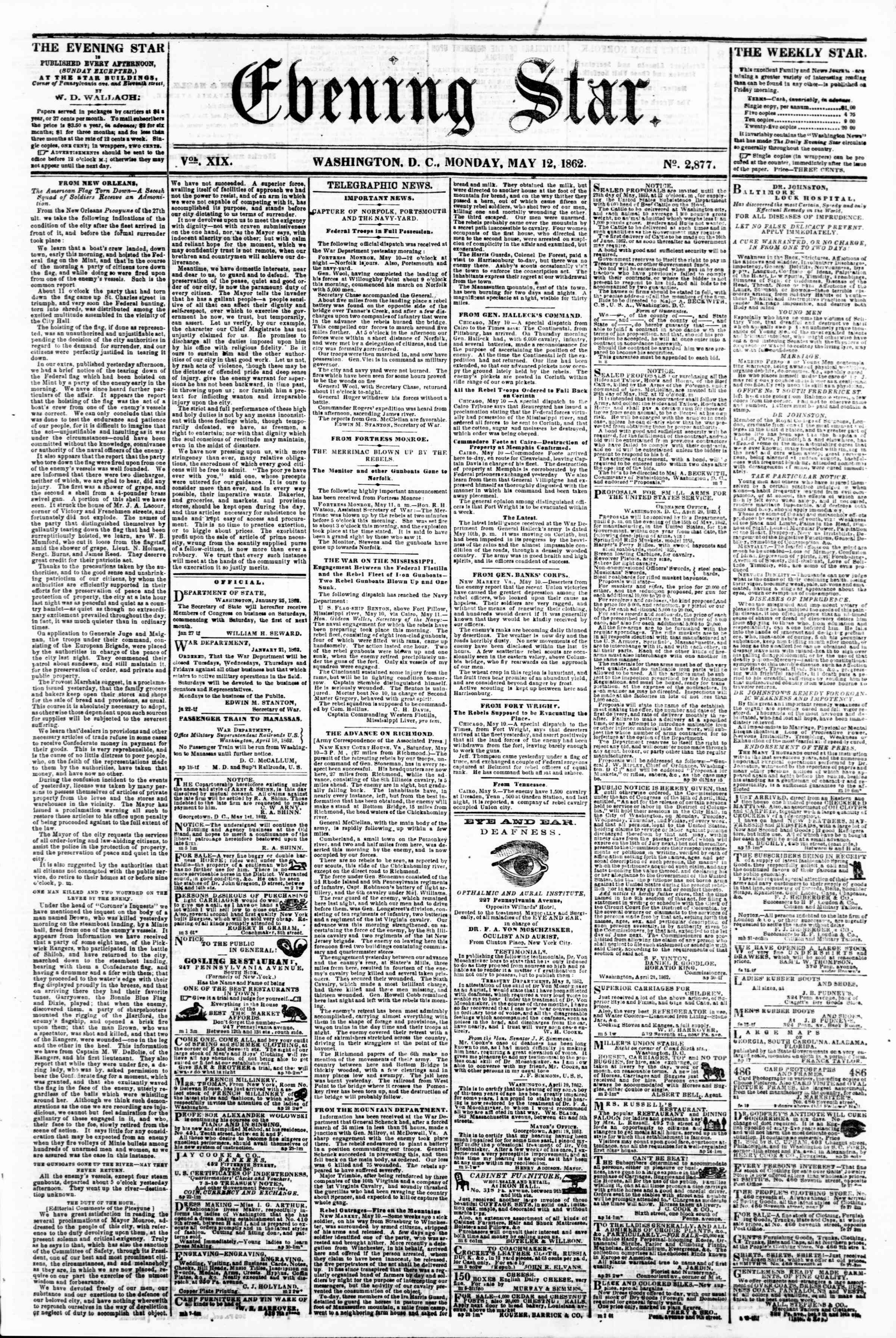 Newspaper of Evening Star dated May 12, 1862 Page 1