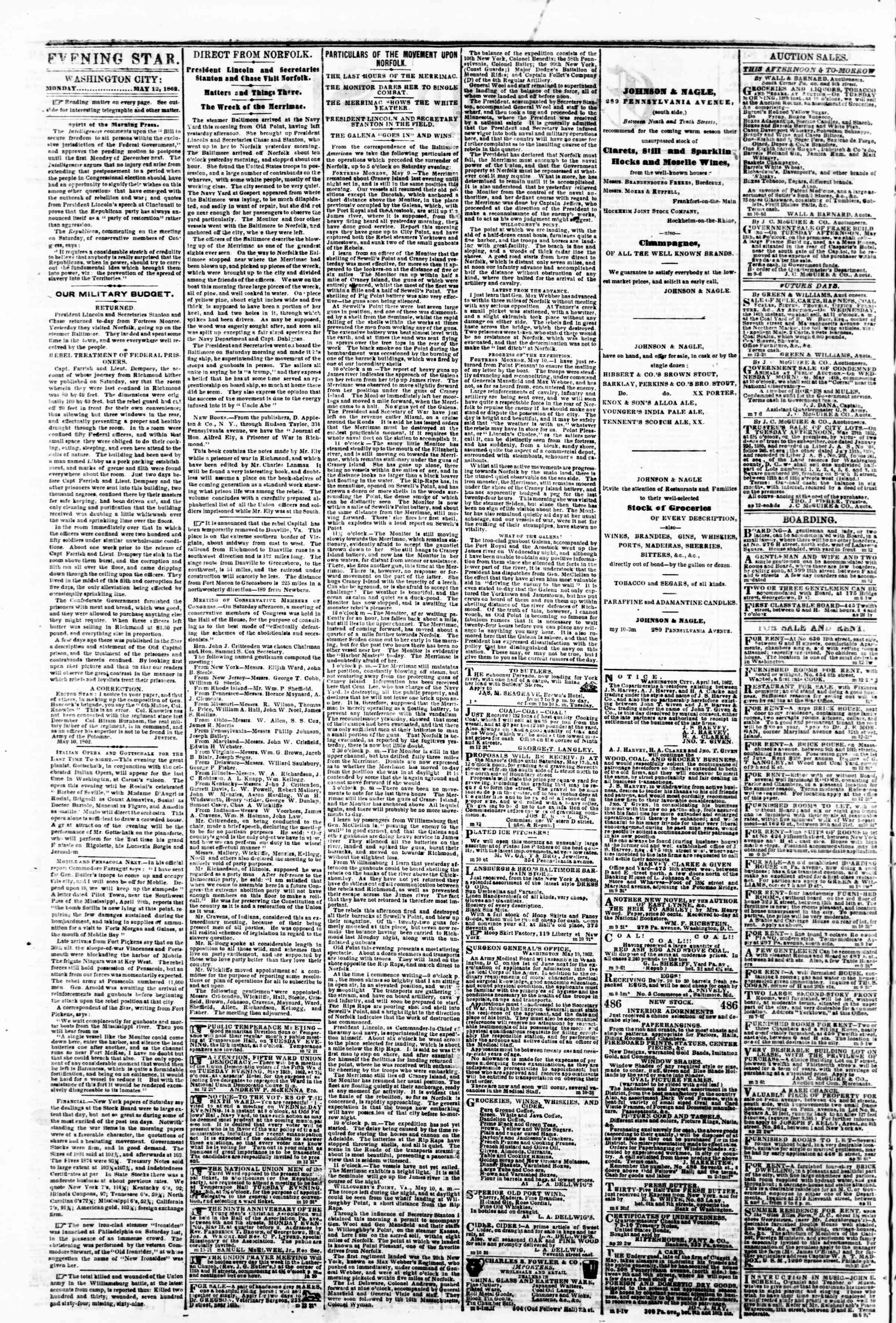 Newspaper of Evening Star dated May 12, 1862 Page 2
