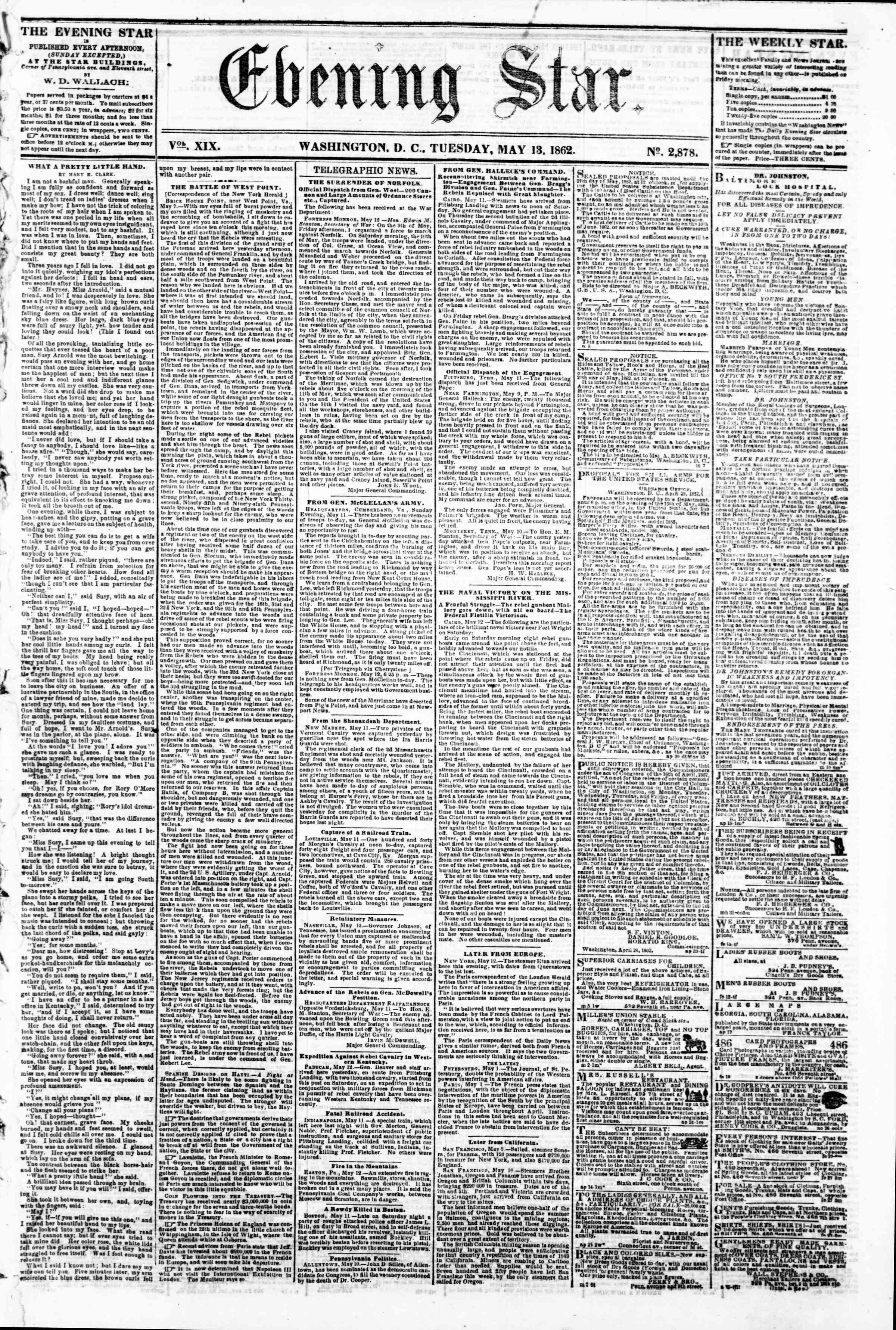 Newspaper of Evening Star dated May 13, 1862 Page 1