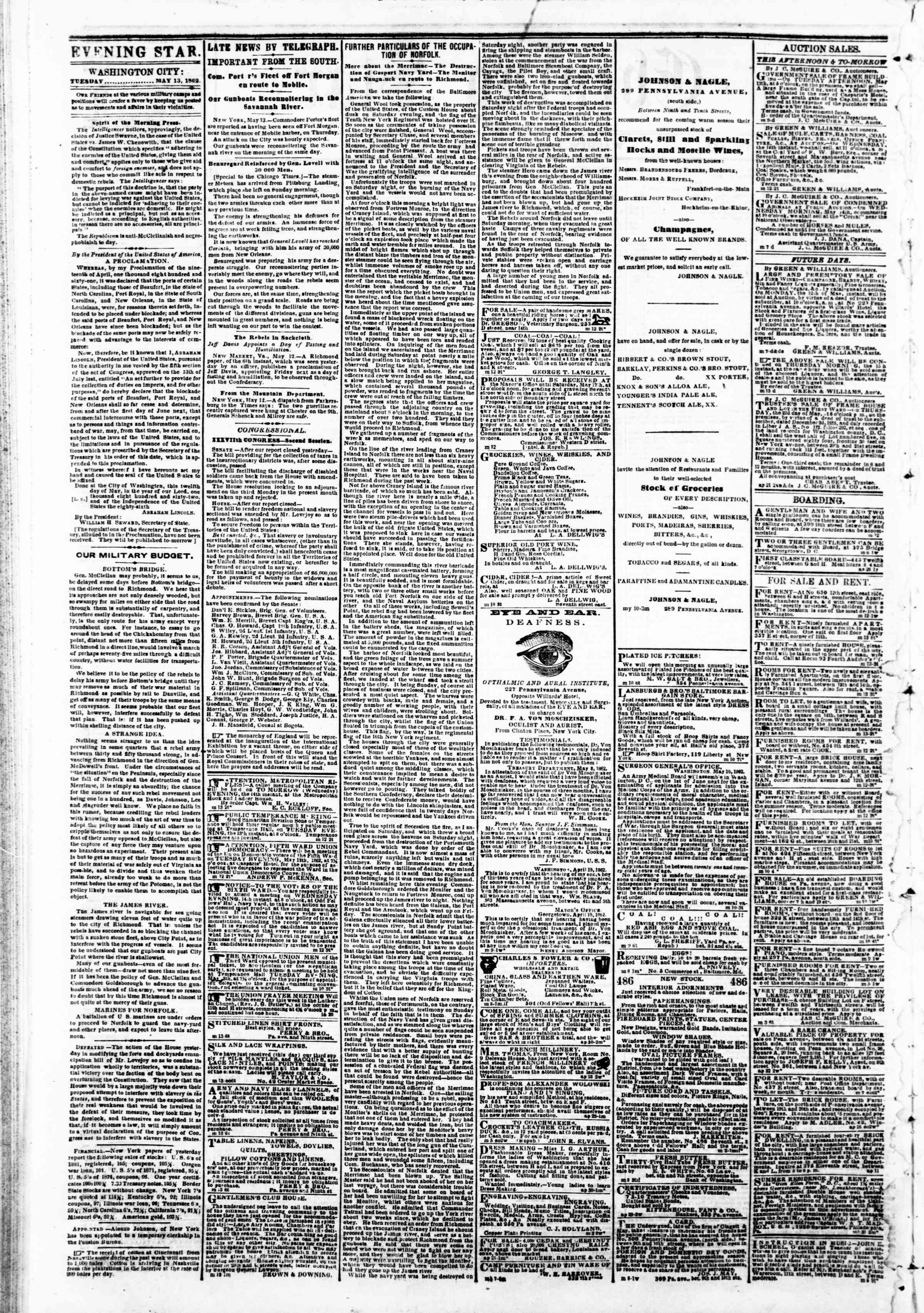 Newspaper of Evening Star dated May 13, 1862 Page 2