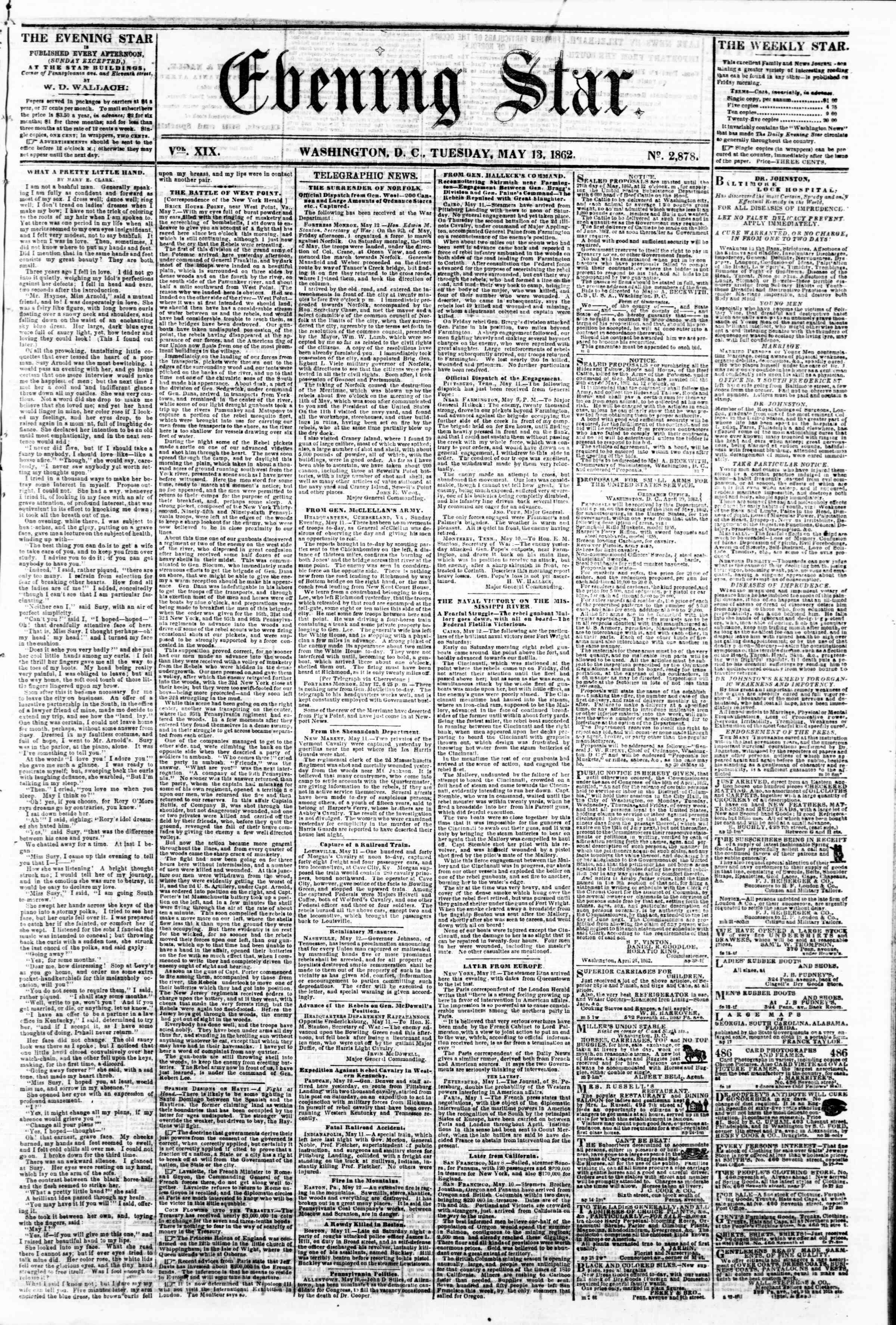 Newspaper of Evening Star dated May 13, 1862 Page 11