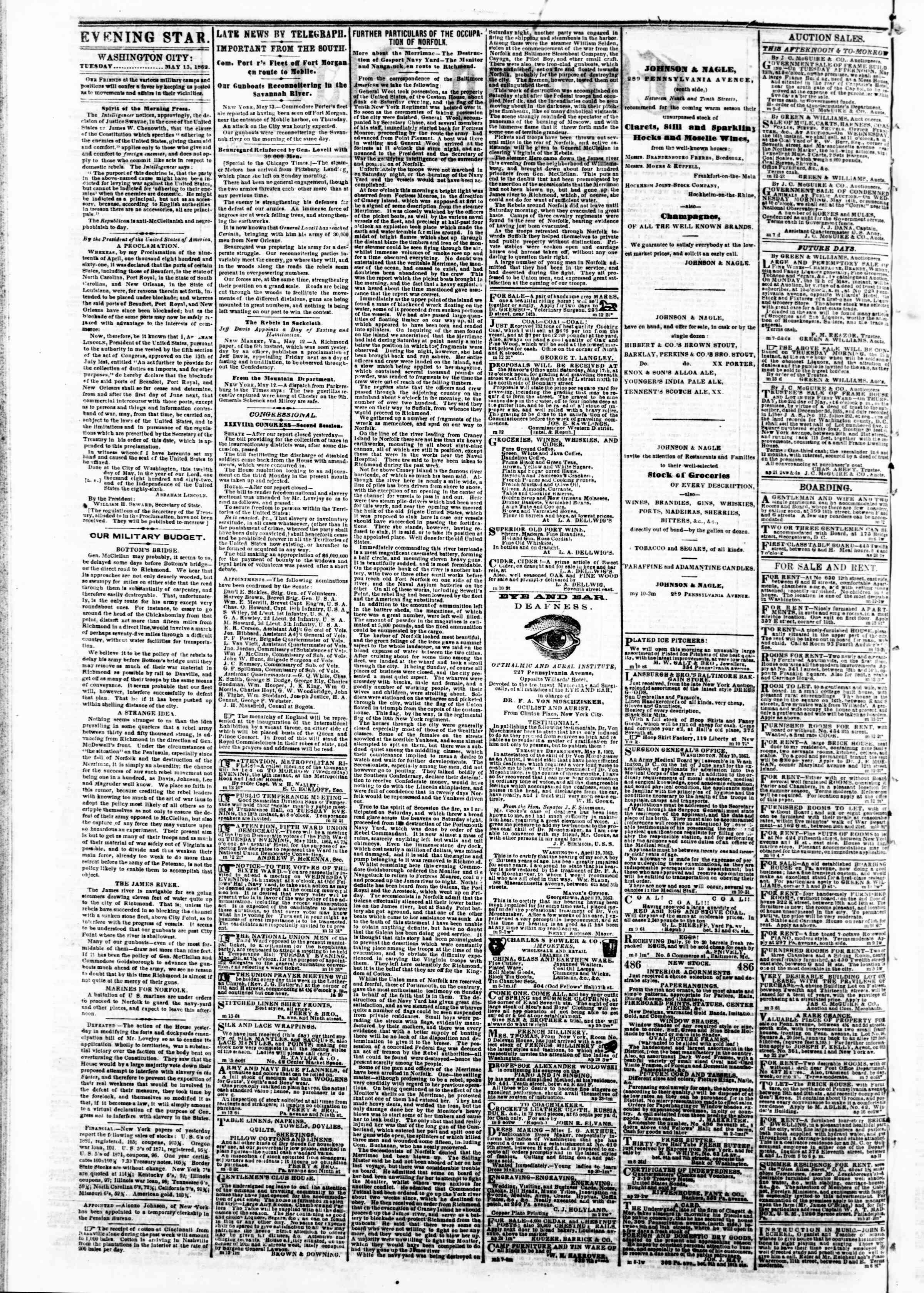 Newspaper of Evening Star dated May 13, 1862 Page 12