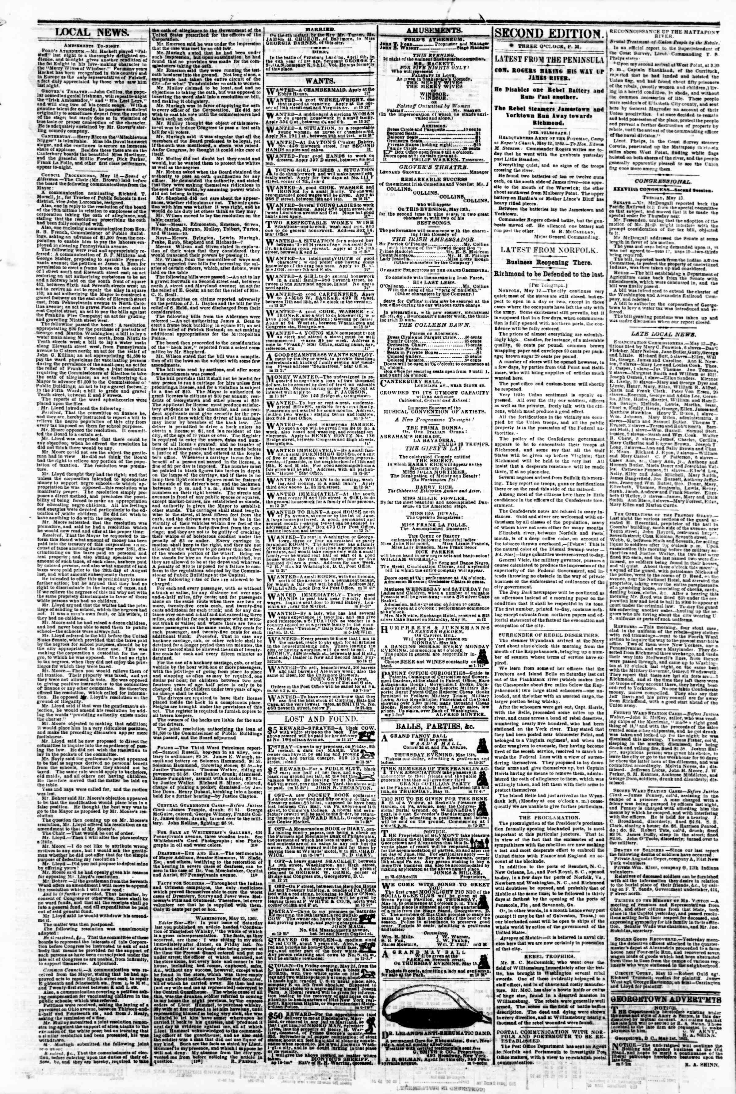 Newspaper of Evening Star dated May 13, 1862 Page 13