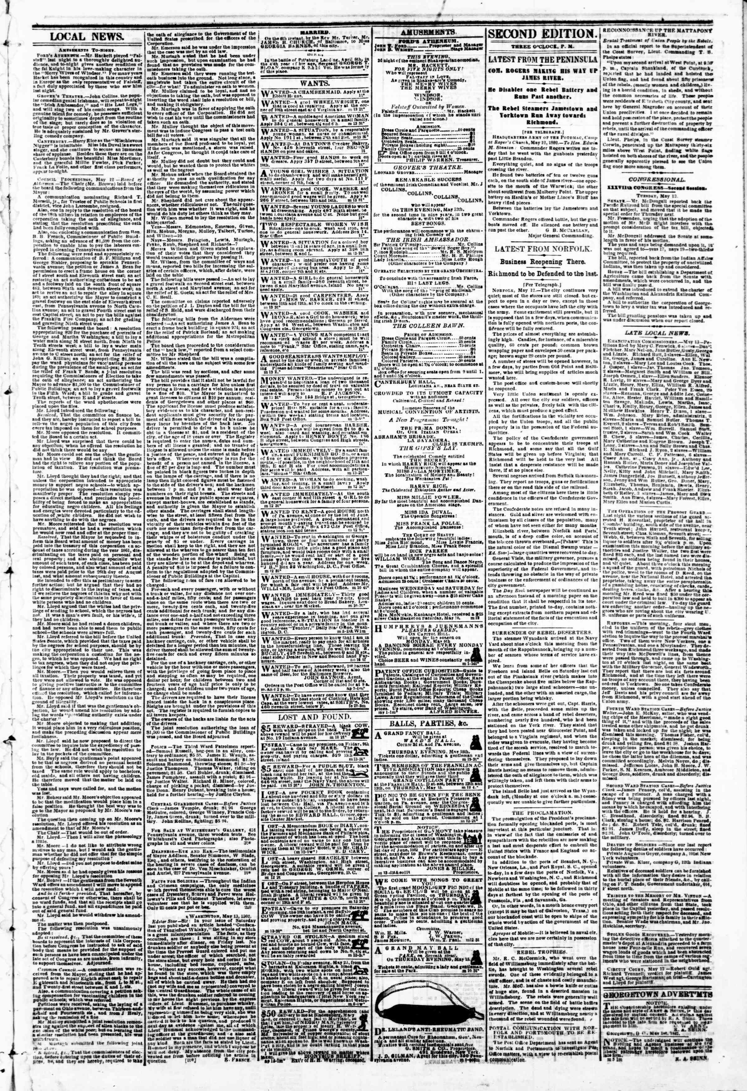 Newspaper of Evening Star dated May 13, 1862 Page 3