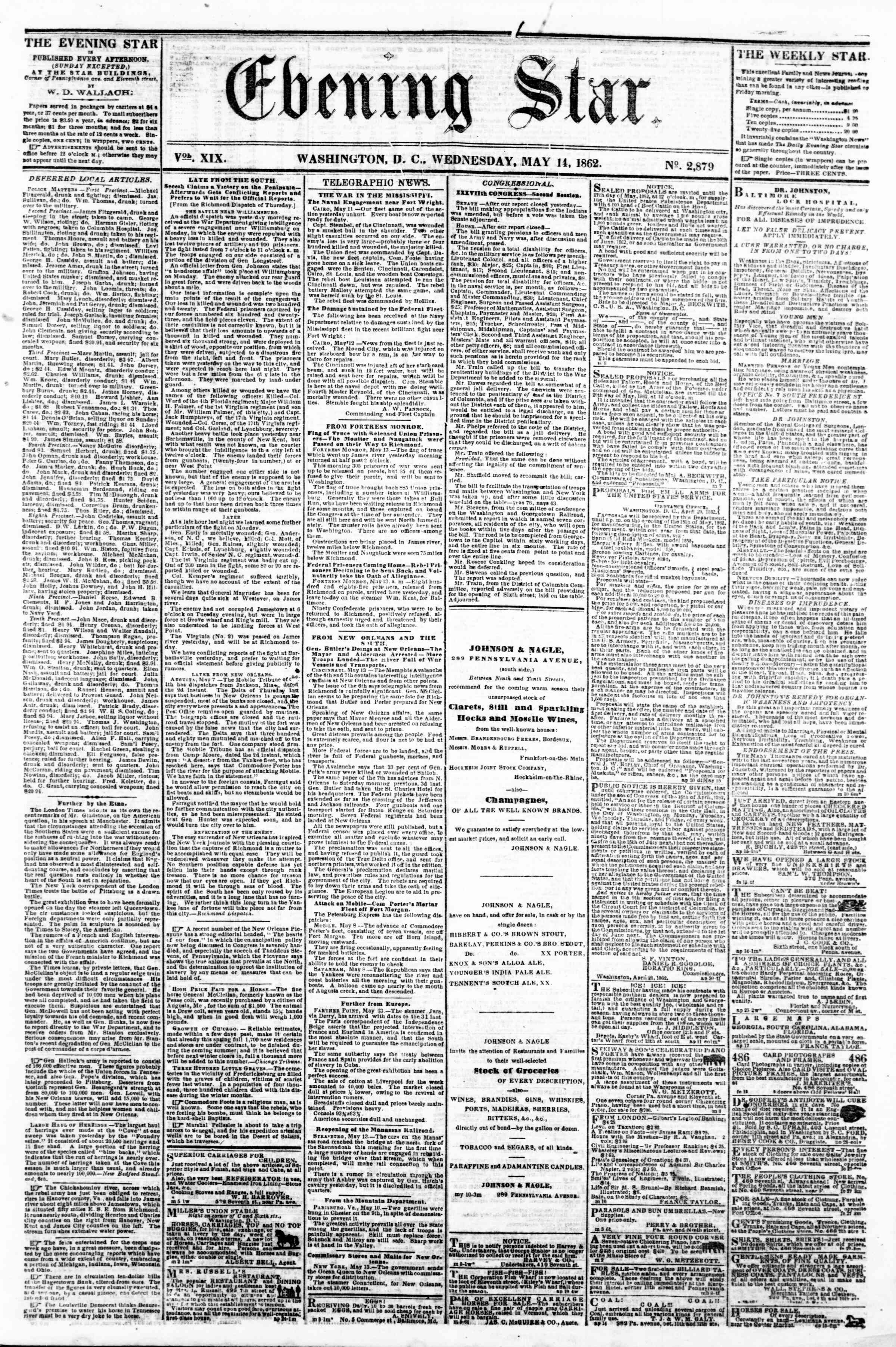 Newspaper of Evening Star dated May 14, 1862 Page 1