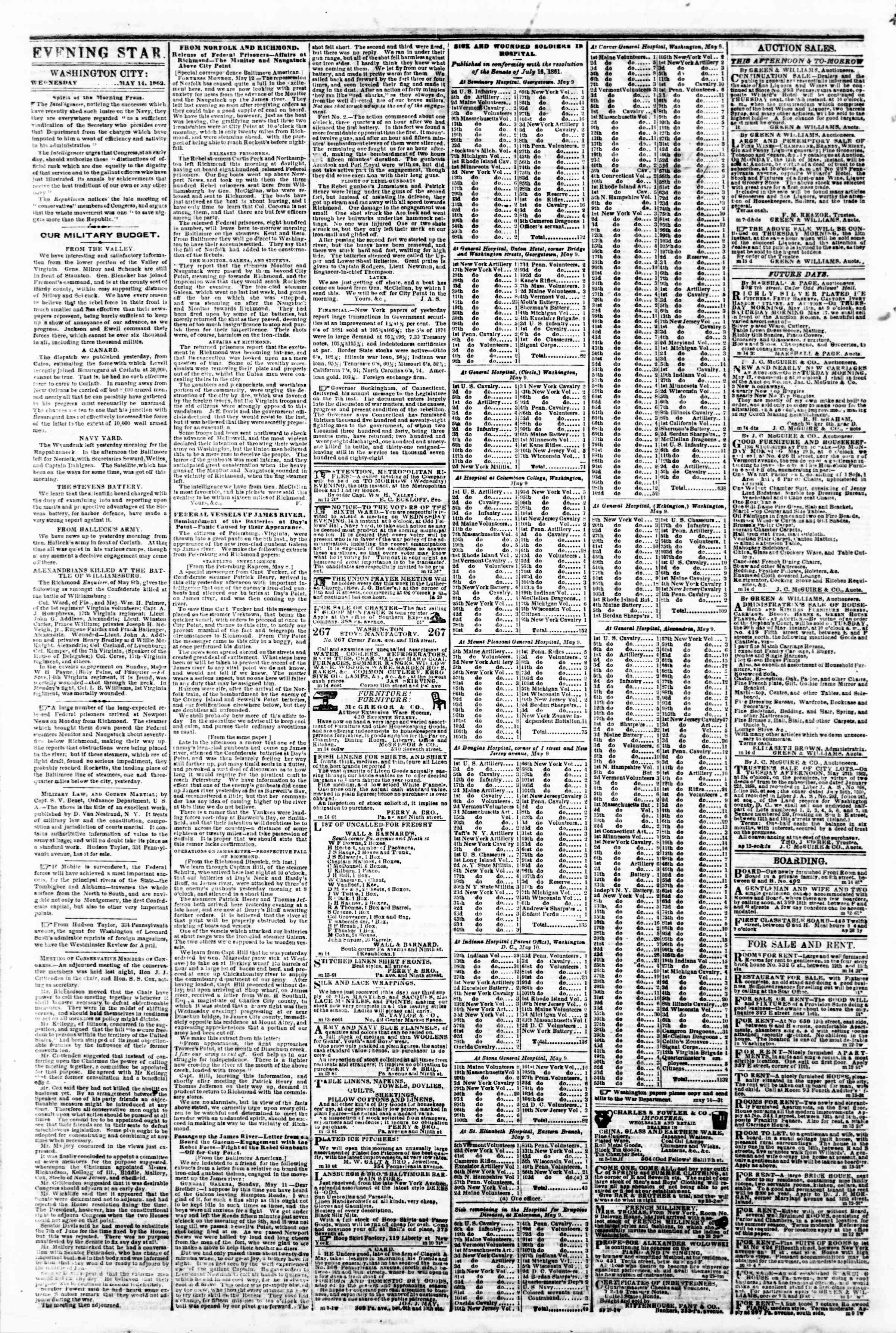 Newspaper of Evening Star dated 14 Mayıs 1862 Page 2