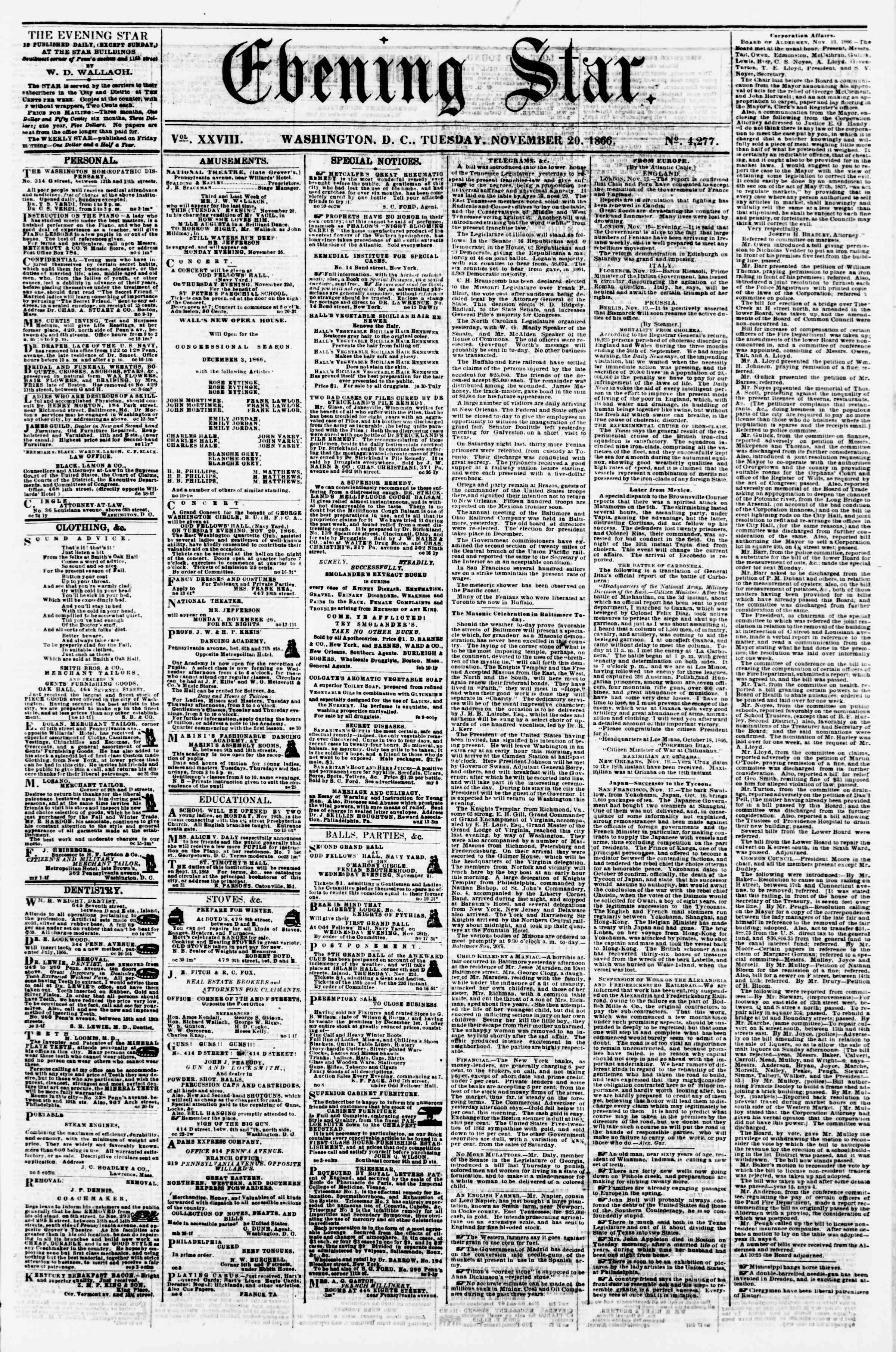 Newspaper of Evening Star dated November 20, 1866 Page 1